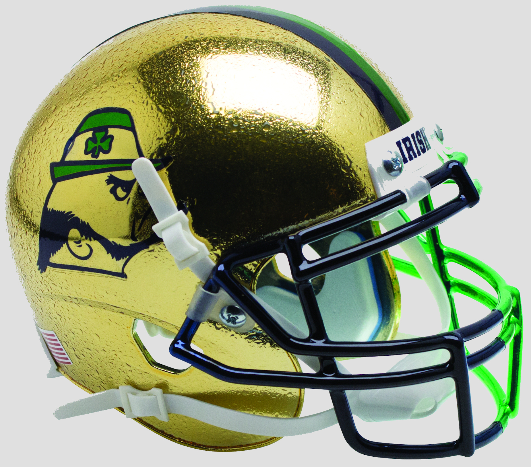 Notre Dame Fighting Irish Full XP Replica Football Helmet Schutt <B>Textured with Shamrock 2015 Boston</B>