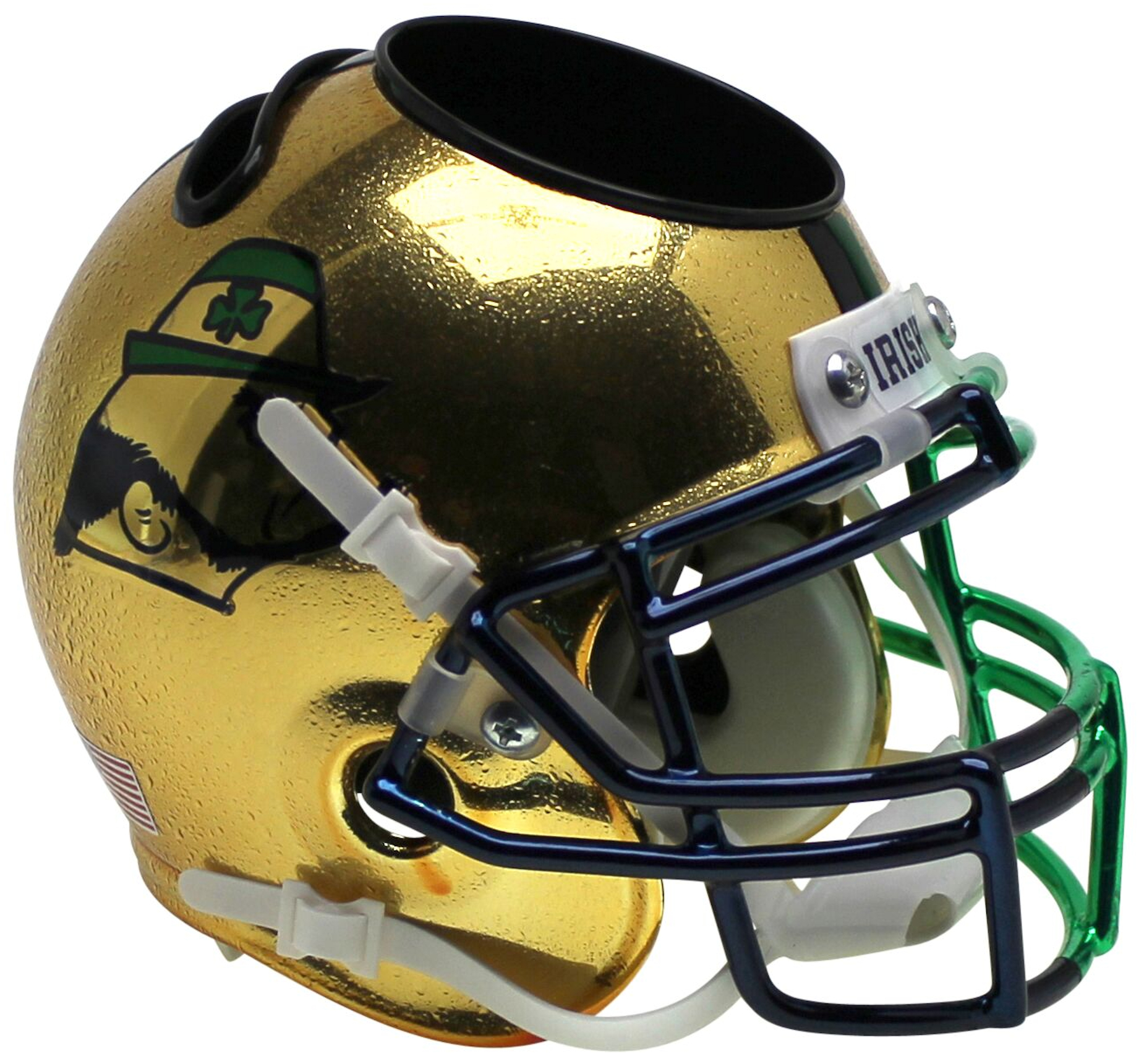Notre Dame Fighting Irish Miniature Football Helmet Desk Caddy <B>Textured with Shamrock 2015 Boston</B>