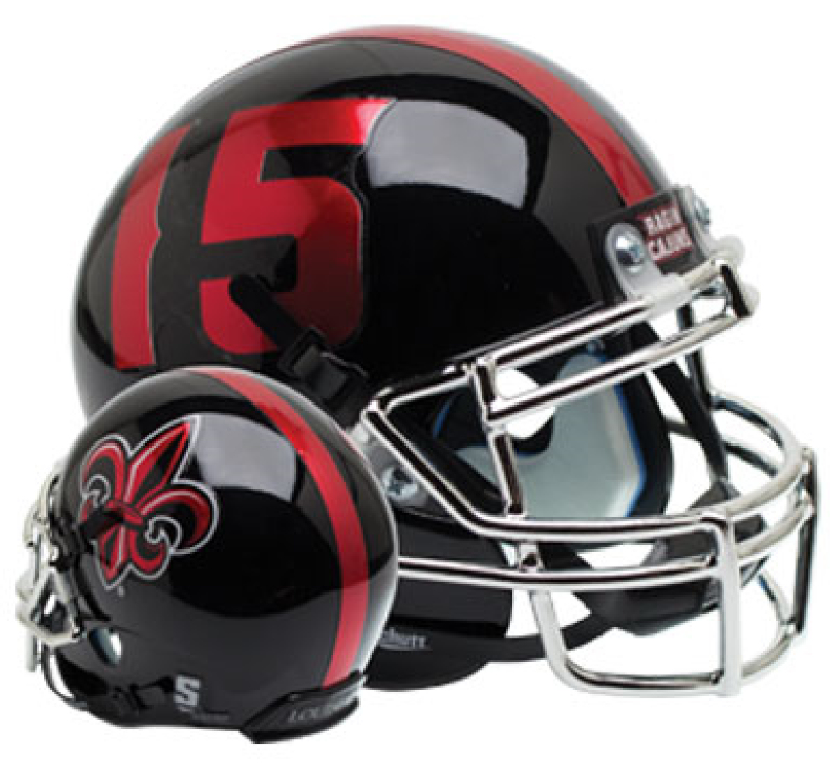 Louisiana (Lafayette) Ragin Cajuns Authentic College XP Football Helmet Schutt <B>Black with Chrome Mask</B>