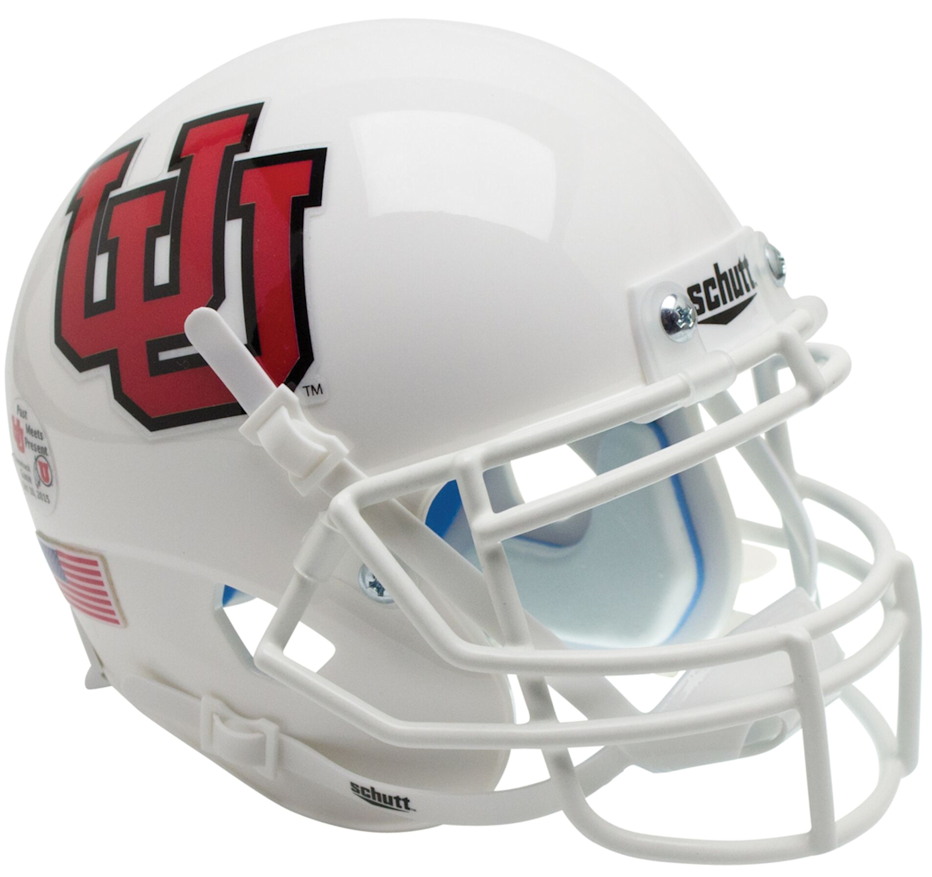 Utah Utes Authentic College XP Football Helmet Schutt <B>White UU White Mask<B>