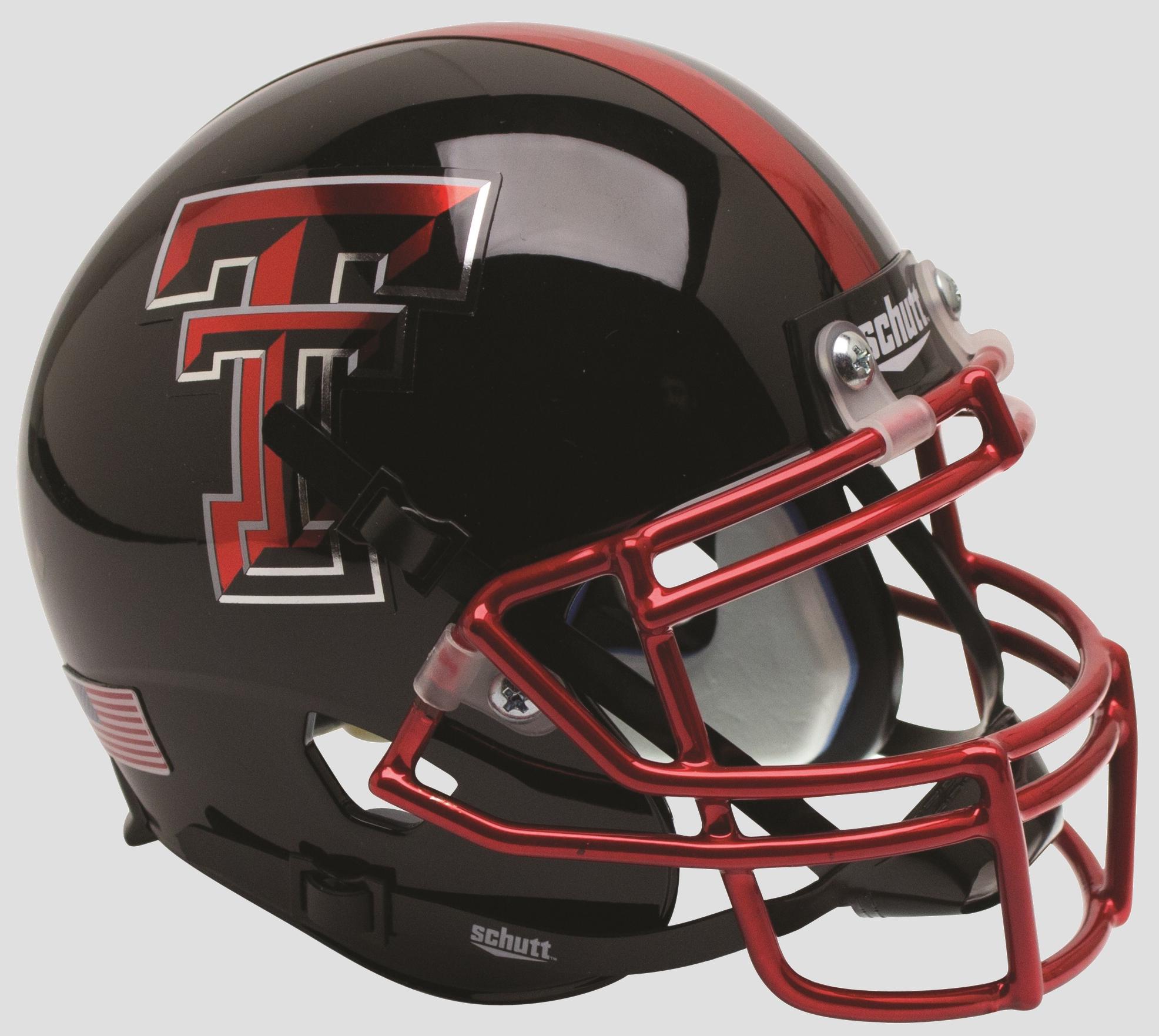 Texas Tech Red Raiders Authentic College XP Football Helmet Schutt <B>Chrome Mask Guns Up</B>