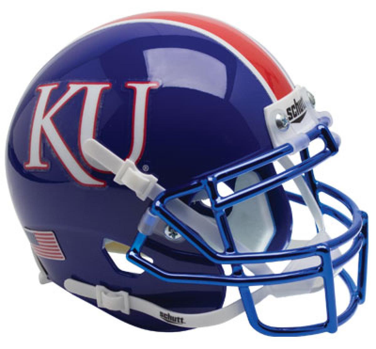 Kansas Jayhawks Full XP Replica Football Helmet Schutt <B>Blue with Chrome Mask</B>