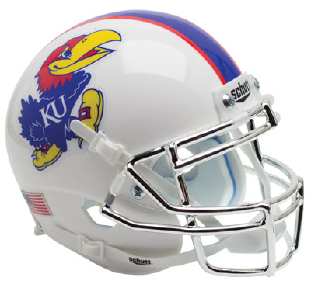 Kansas Jayhawks Full XP Replica Football Helmet Schutt <B>White with Chrome Mask</B>