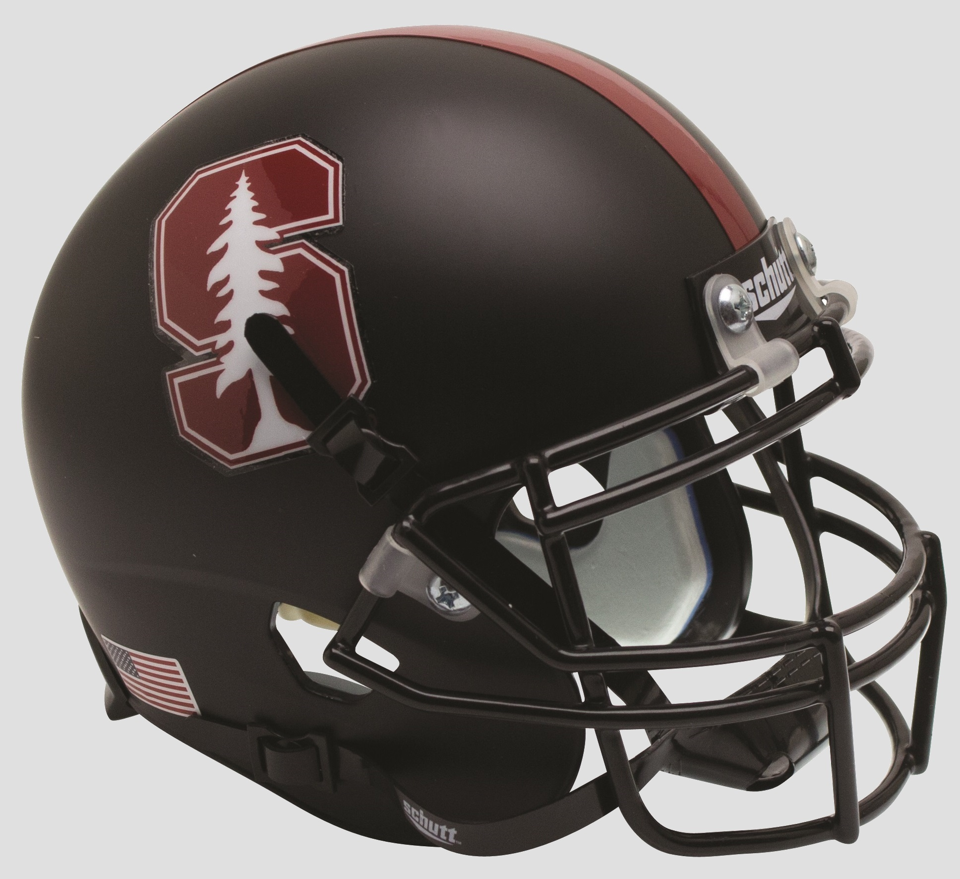 Stanford Cardinal Full XP Replica Football Helmet Schutt <B>Matte Black Tree</B>