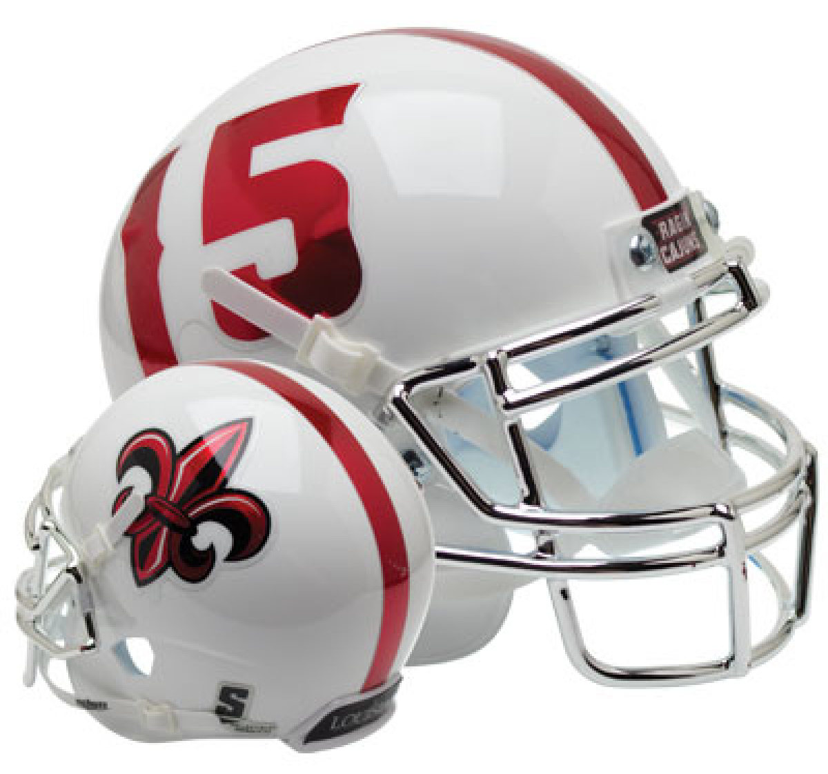 Louisiana (Lafayette) Ragin Cajuns Full XP Replica Football Helmet Schutt <B>White with Chrome Mask</B>