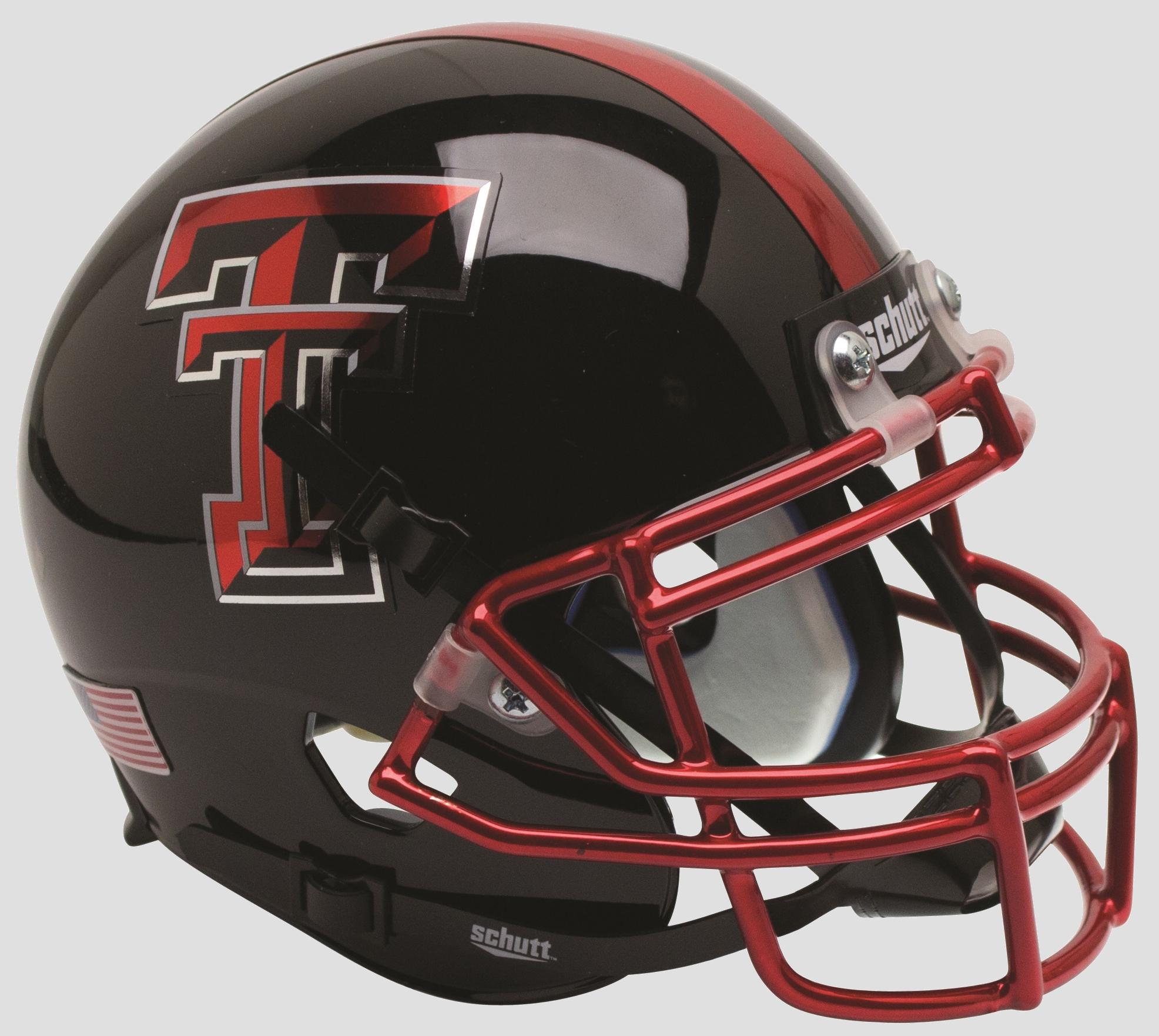 Texas Tech Red Raiders Mini XP Authentic Helmet Schutt <B>Chrome Mask Guns Up</B>