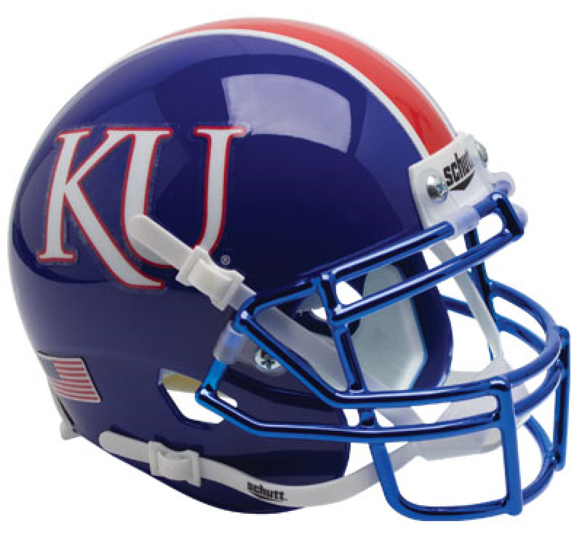 Kansas Jayhawks Miniature Football Helmet Desk Caddy <B>Blue with Chrome Mask</B>