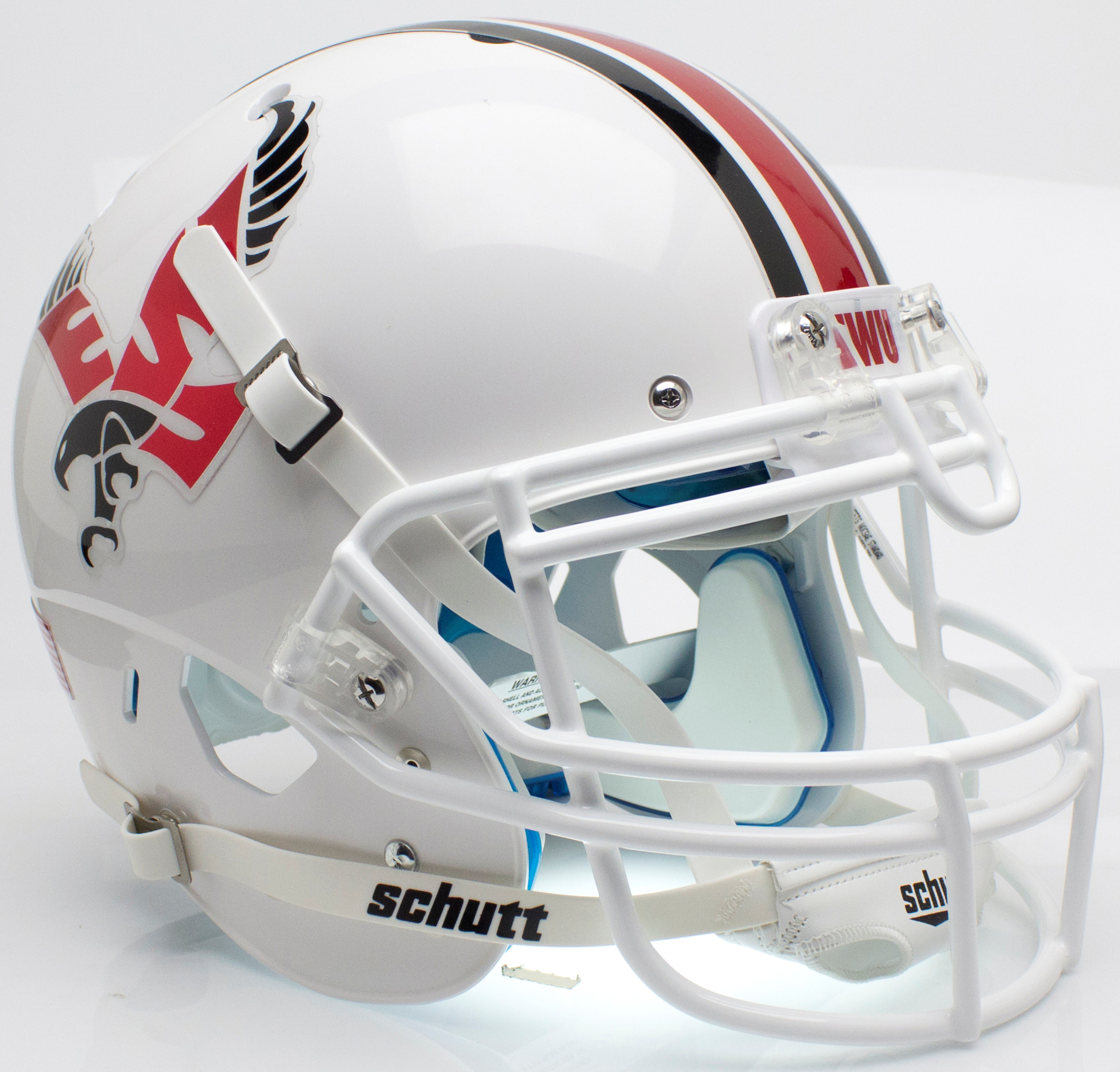 Eastern Washington Eagles Authentic College XP Football Helmet Schutt <B>White with Chrome Decal</B>