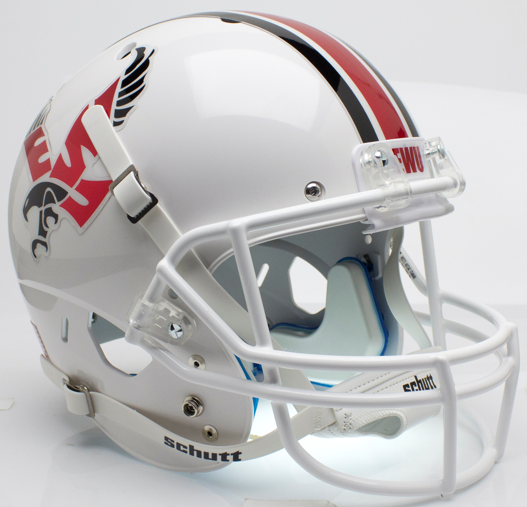 Eastern Washington Eagles Full XP Replica Football Helmet Schutt <B>White with Chrome Decal</B>