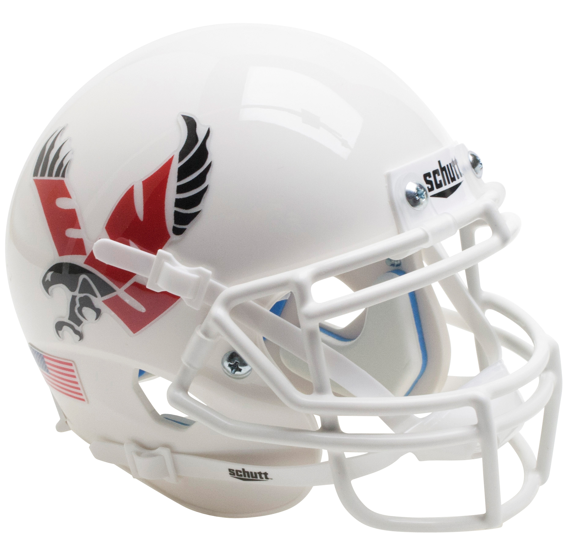 Eastern Washington Eagles Mini XP Authentic Helmet Schutt <B>White with Chrome Decal</B>