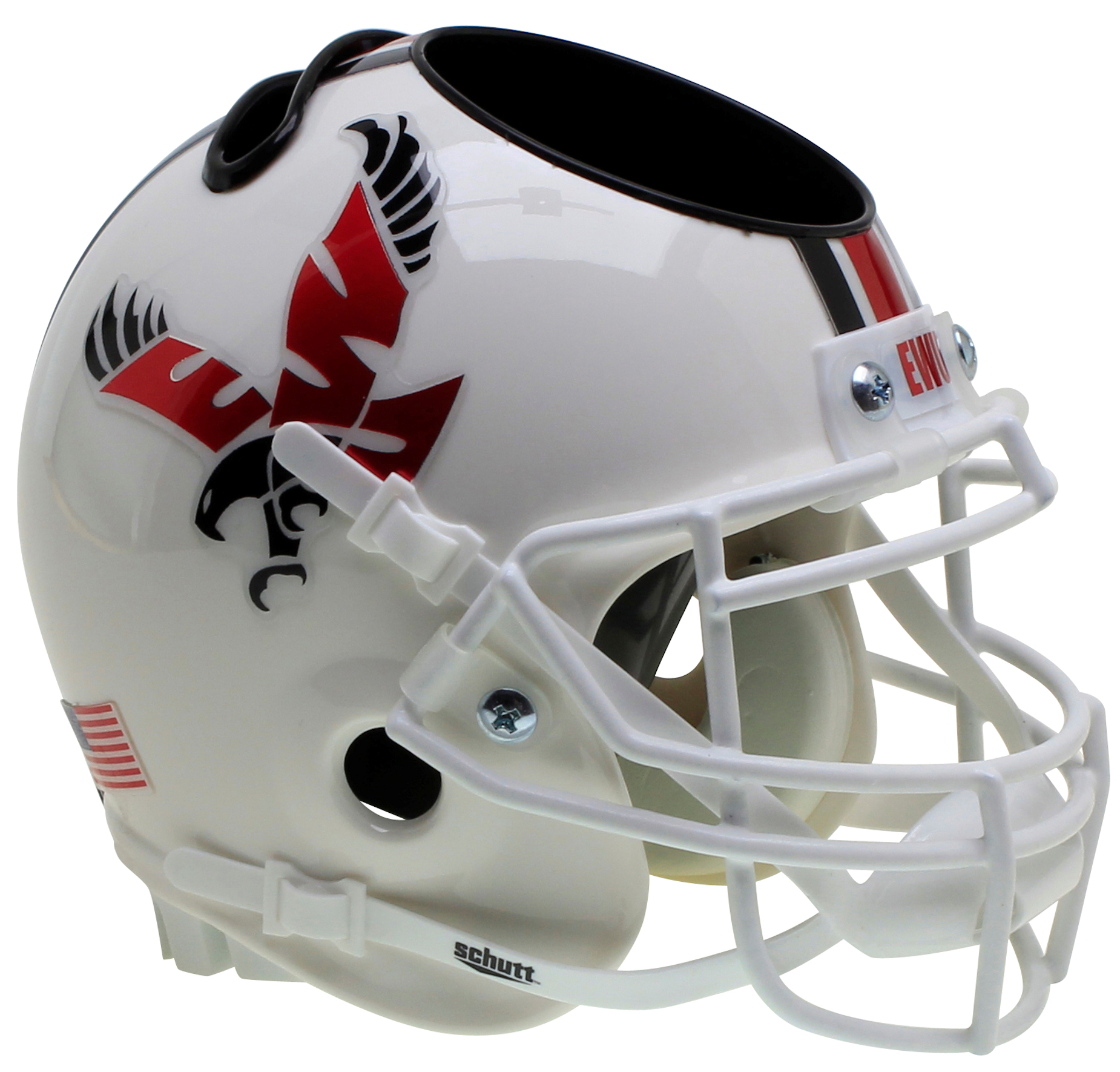 Eastern Washington Eagles Miniature Football Helmet Desk Caddy <B>White with Chrome Decal</B>