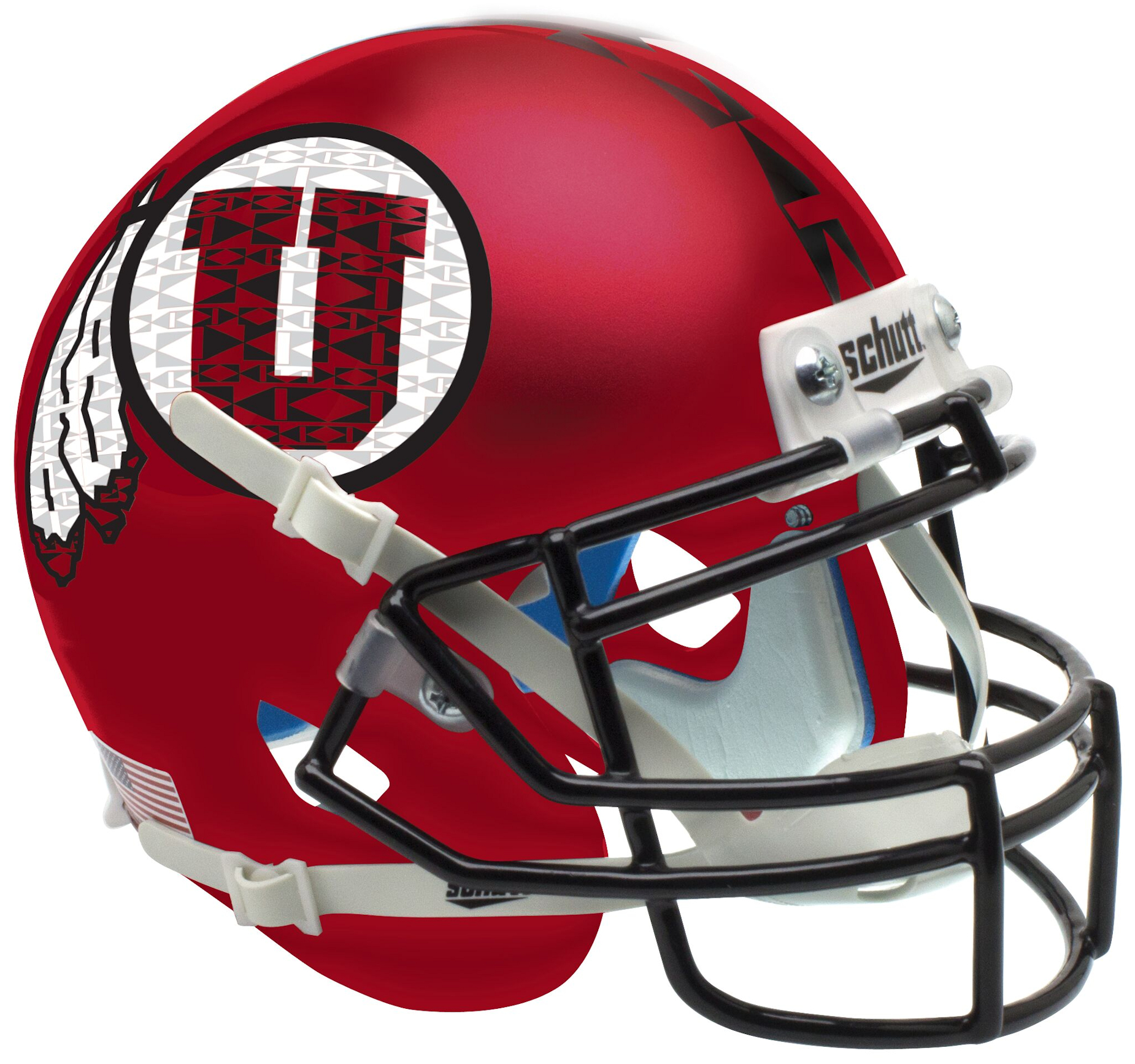 Utah Utes Authentic College XP Football Helmet Schutt <B>Satin Red Black Mask<B>