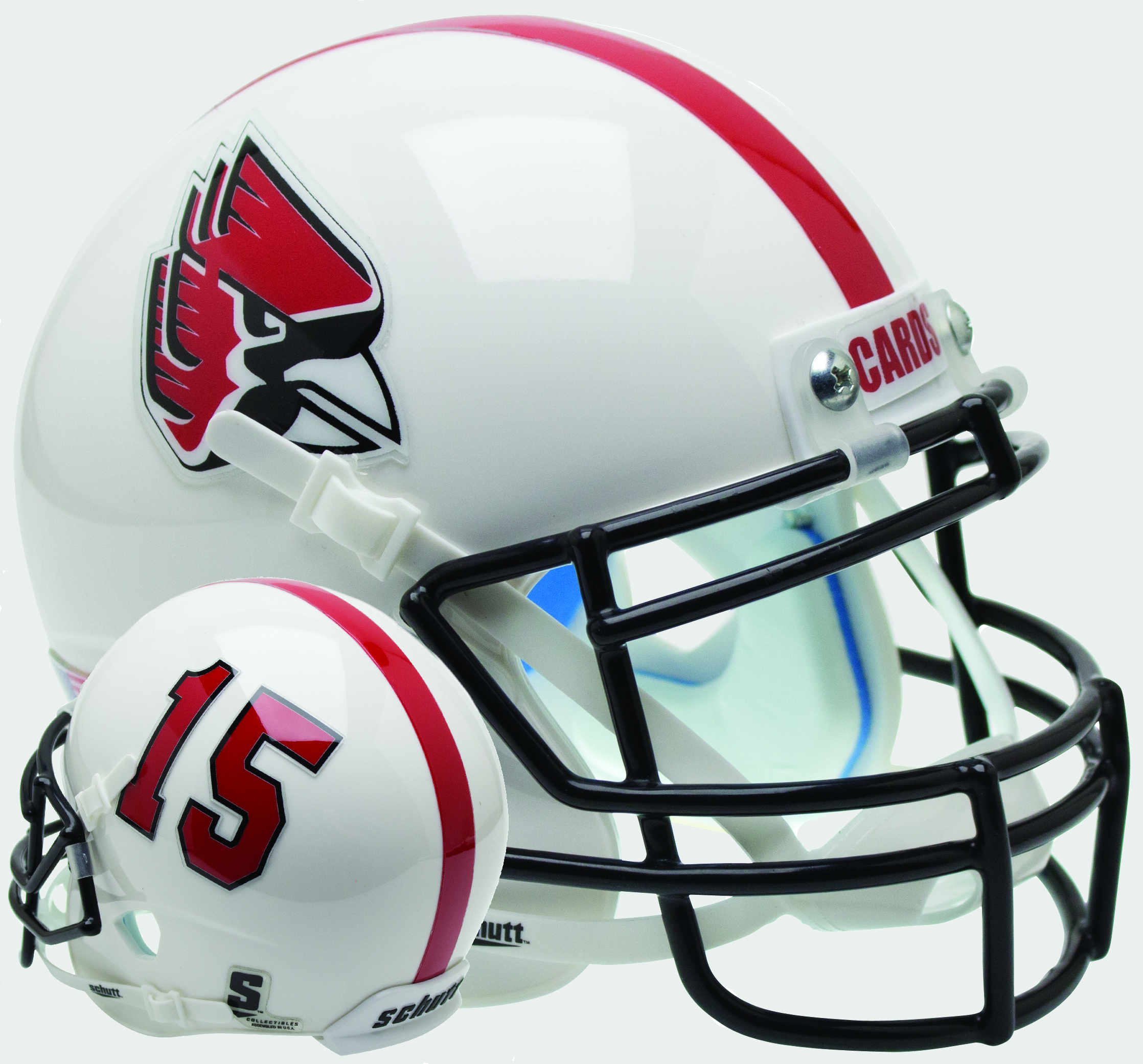 Ball State Cardinals Mini XP Authentic Helmet Schutt <B>White with Number</B>