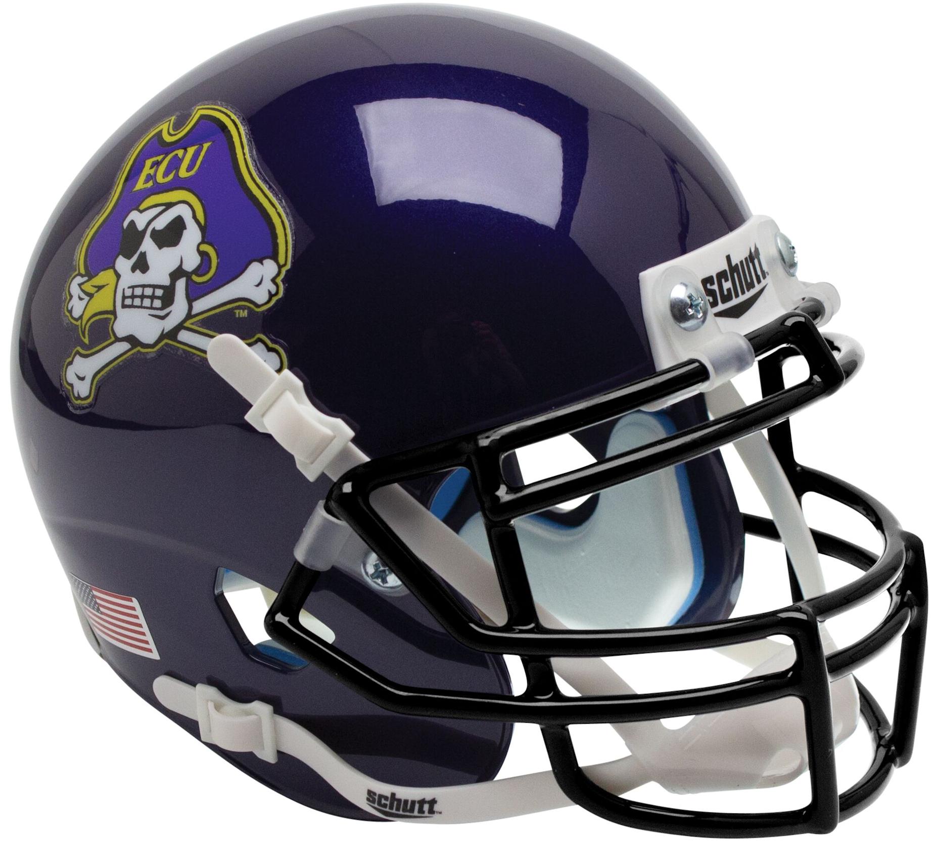 East Carolina Pirates Mini XP Authentic Helmet Schutt <B>Black Mask</B>