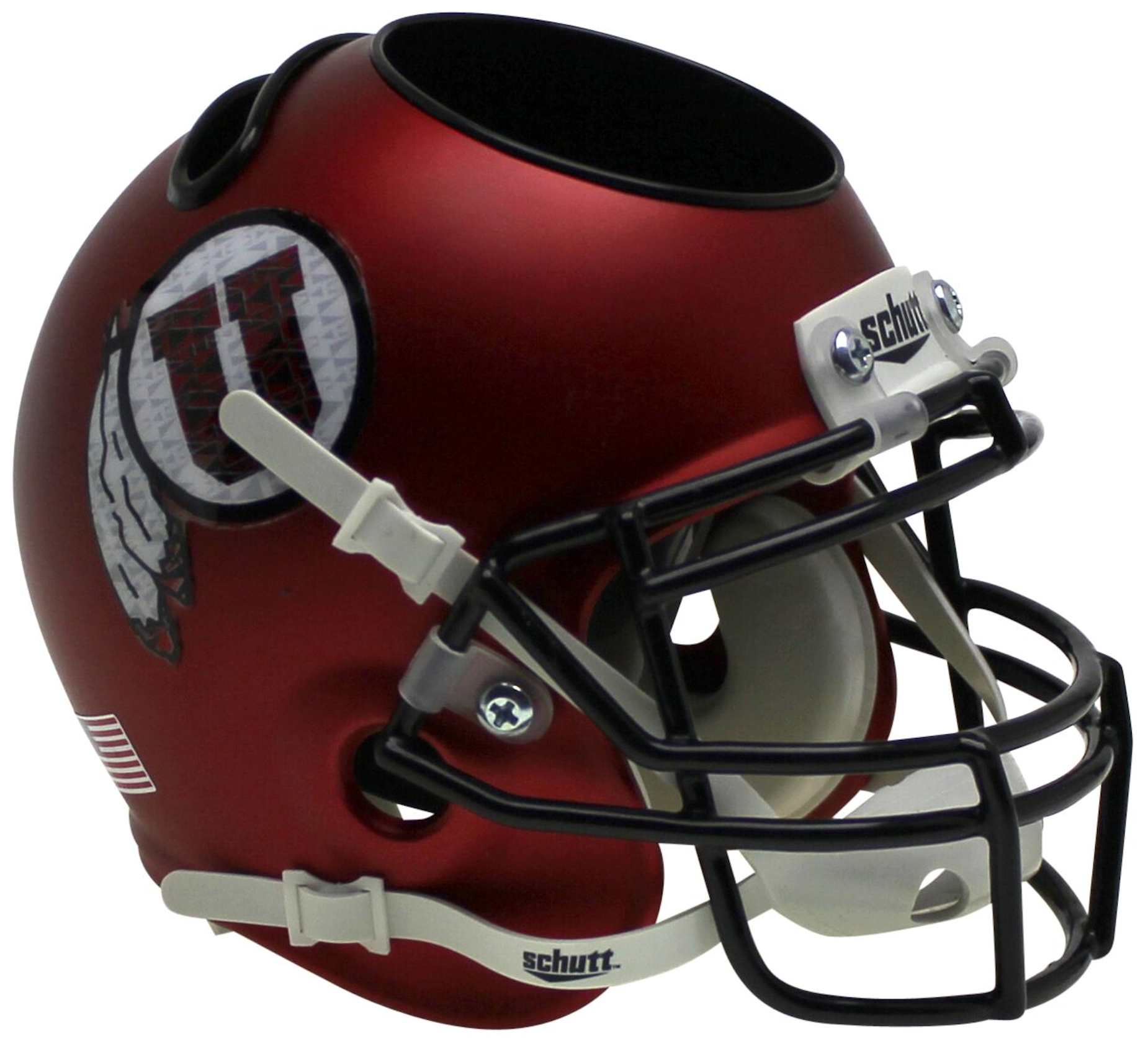 Utah Utes Miniature Football Helmet Desk Caddy <B>Satin Red Black Mask</B>
