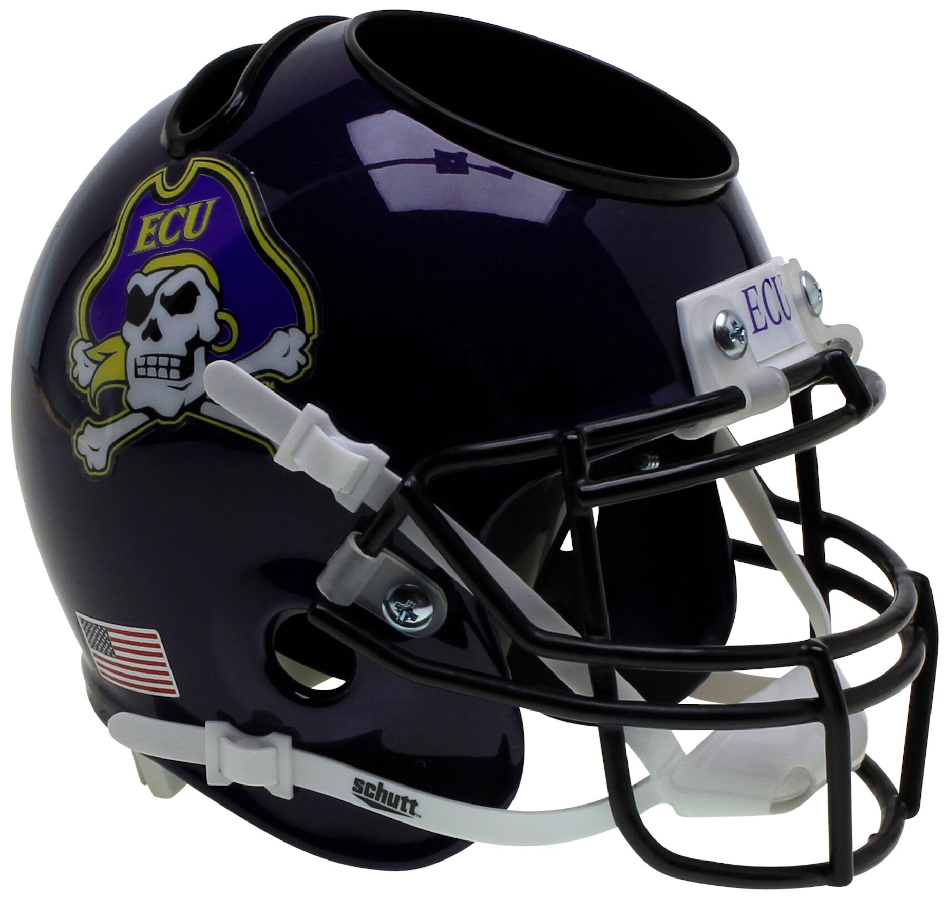 East Carolina Pirates Miniature Football Helmet Desk Caddy <B>Black Mask</B>