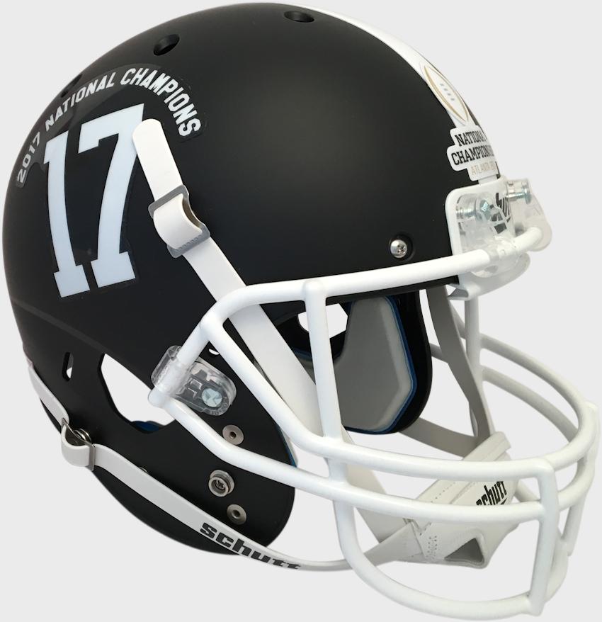 Alabama Crimson Tide 2017 2018 National Champions Full XP Replica Football Helmet Schutt <B>Matte Black</B>