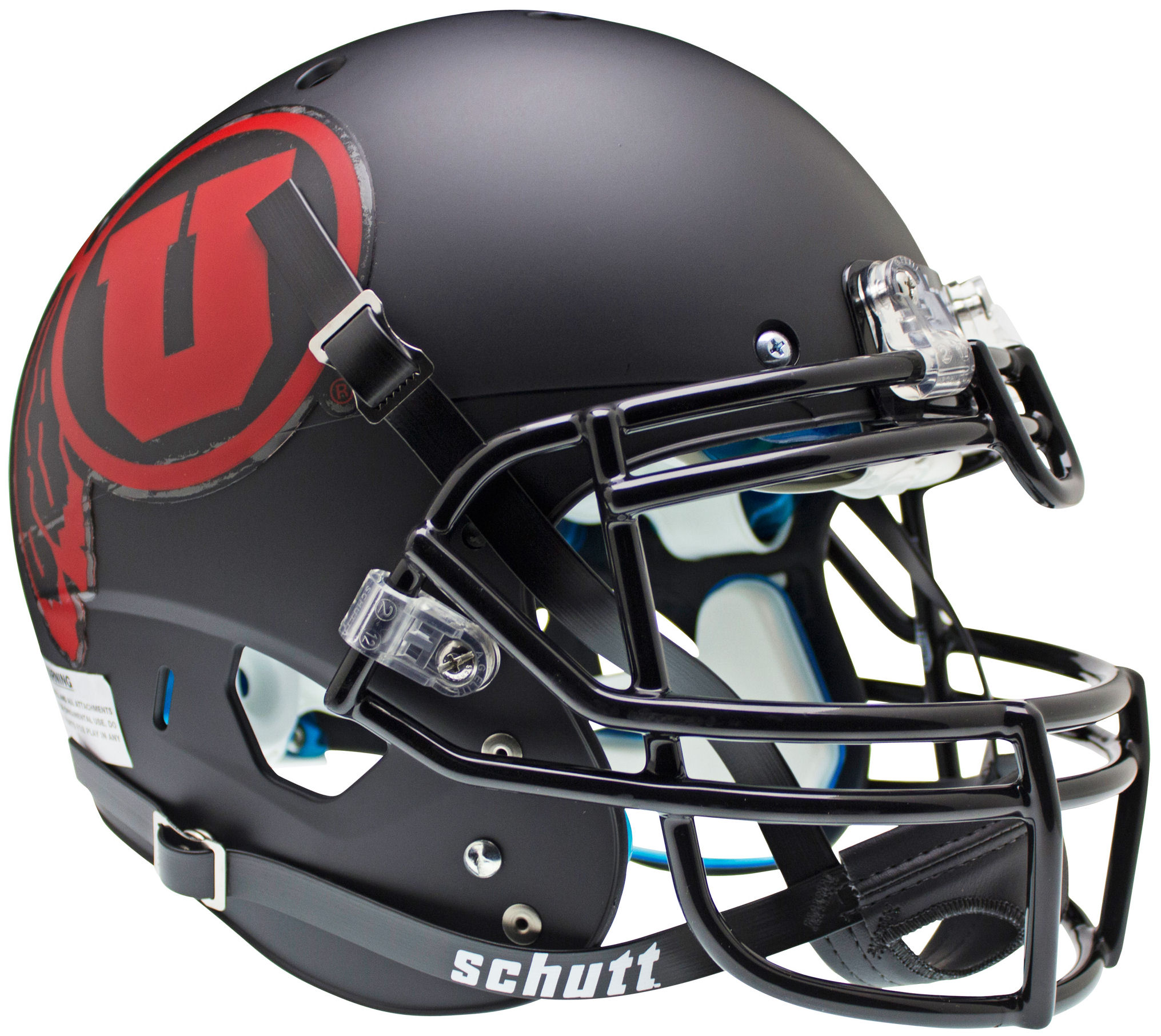 Utah Utes Authentic College XP Football Helmet Schutt <B>Matte Black w/Red decal<B>