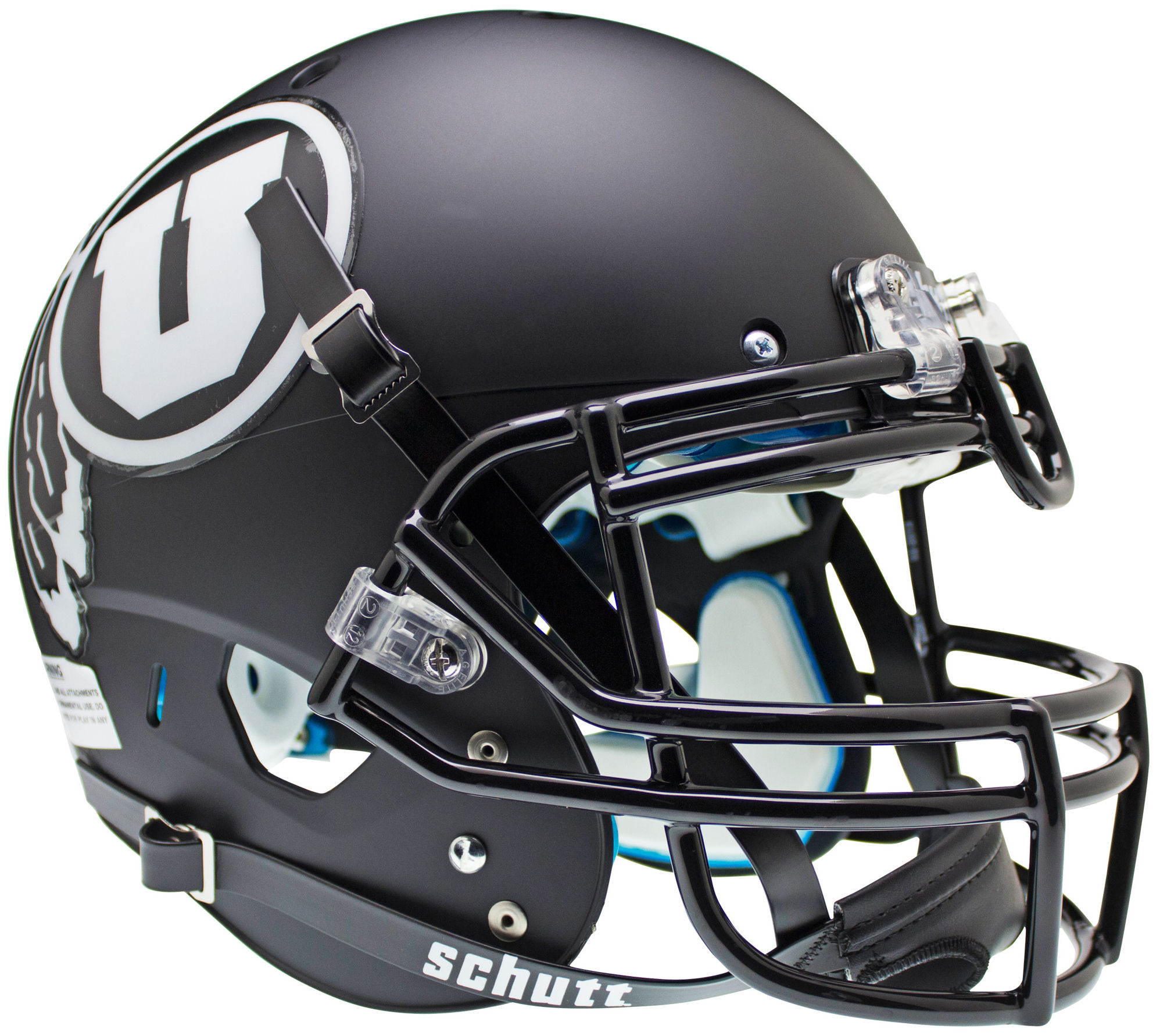 Utah Utes Authentic College XP Football Helmet Schutt <B>Matte Black w/White decal<B>