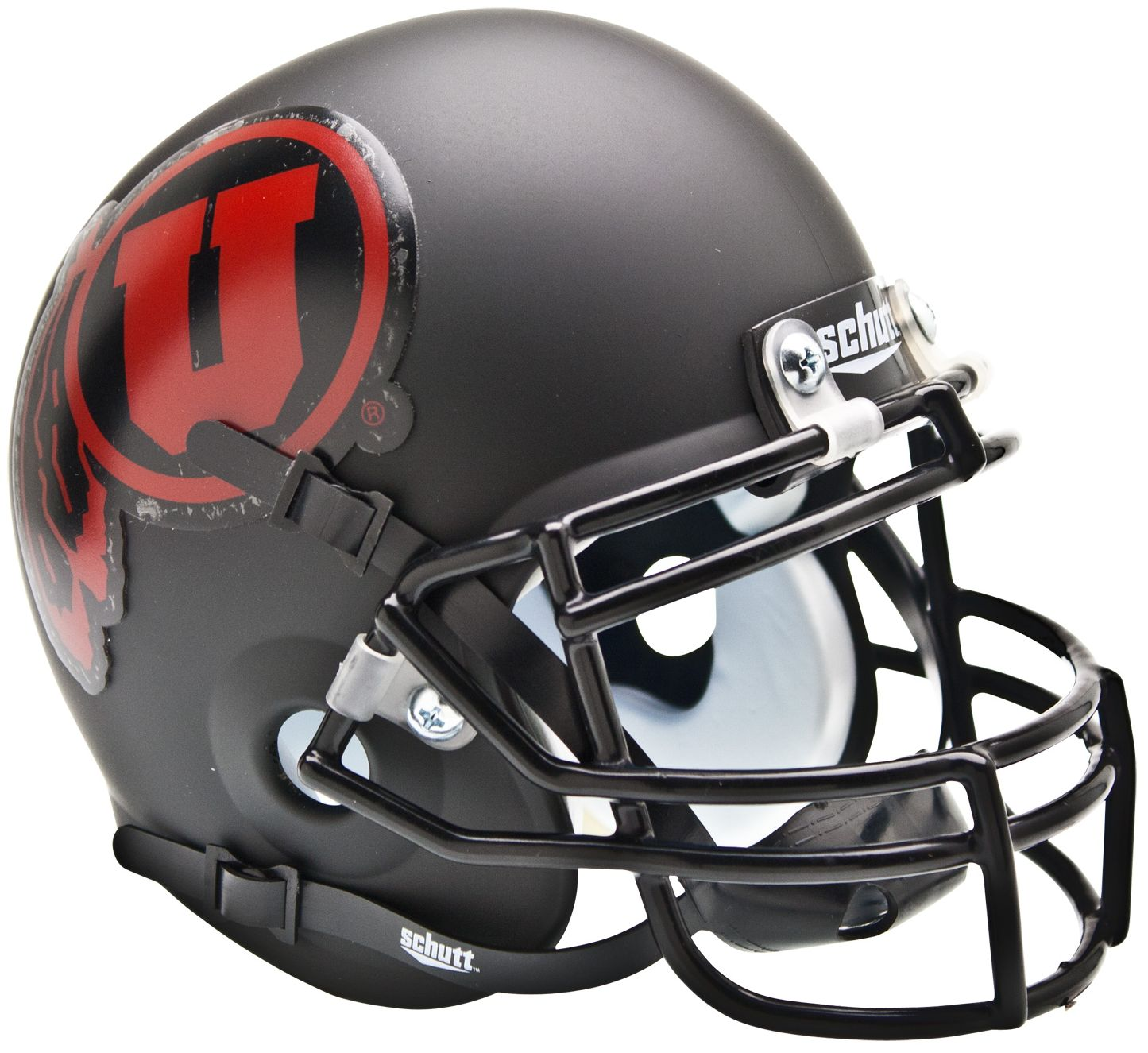Utah Utes Mini XP Authentic Helmet Schutt <B>Matte Black w/Red decal<B>