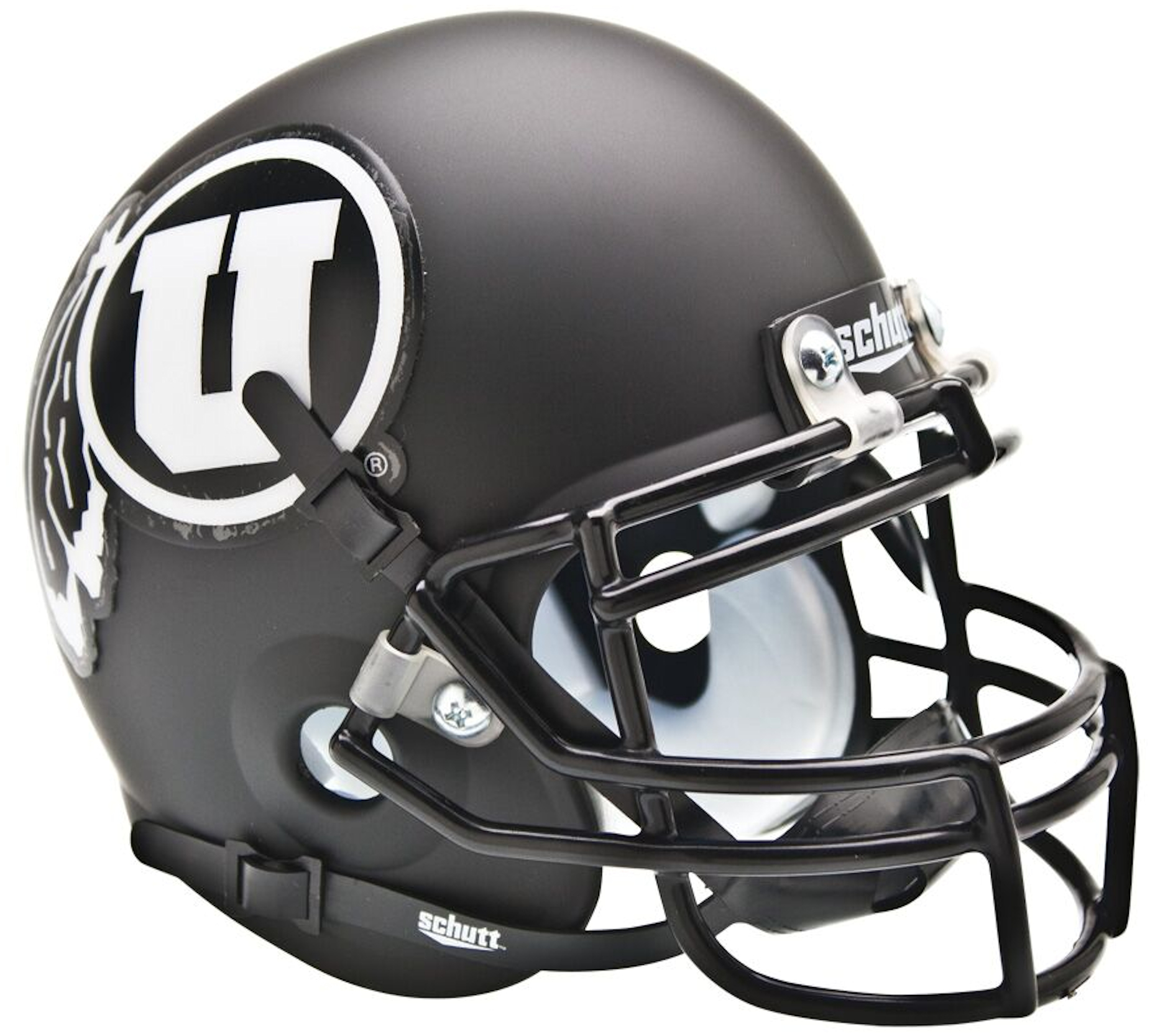 Utah Utes Mini XP Authentic Helmet Schutt <B>Matte Black w/White Decal<B>