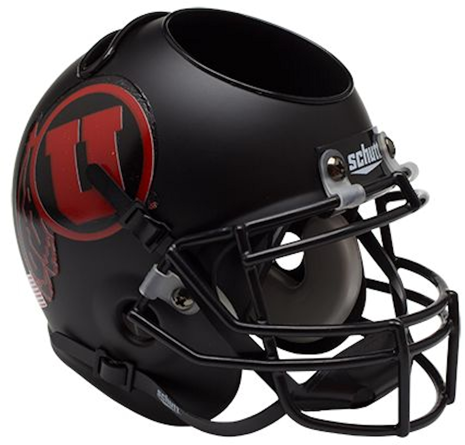 Utah Utes Miniature Football Helmet Desk Caddy <B>Matte Black w/Red Decal</B>