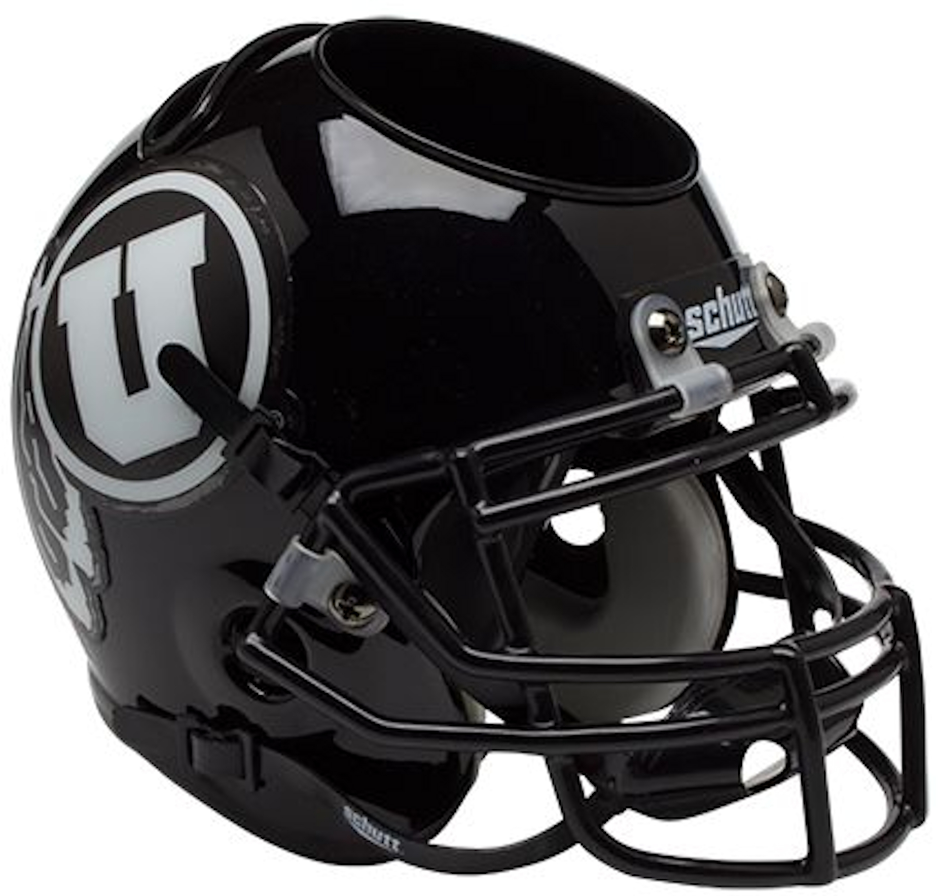 Utah Utes Miniature Football Helmet Desk Caddy <B>Matte Black w/White Decal</B>