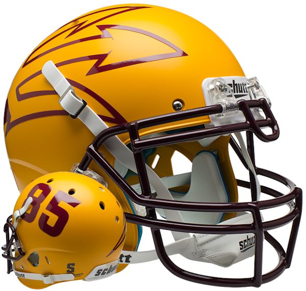 Arizona State Sun Devils Authentic College XP Football Helmet Schutt <B>Matte Gold Large Pitchfork w/85</B>
