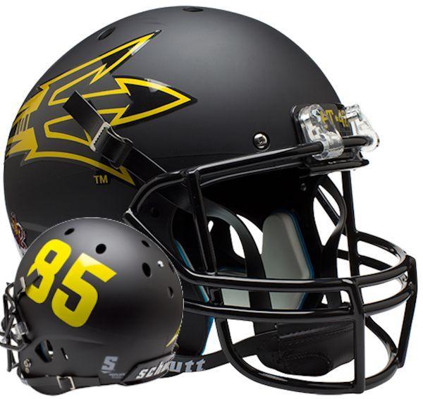 Arizona State Sun Devils Full XP Replica Football Helmet Schutt <B>Matte Black Large Pitchfork w/85</B>
