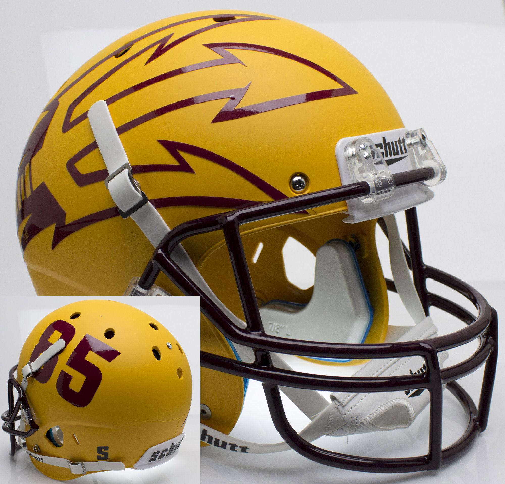 Arizona State Sun Devils Full XP Replica Football Helmet Schutt <B>Matte Gold Large Pitchfork w/85</B>