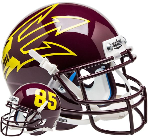 Arizona State Sun Devils Mini XP Authentic Helmet Schutt <B>Maroon Large Pitchfork w/85</B>