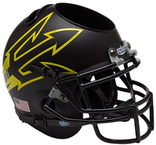 Arizona State Sun Devils Miniature Football Helmet Desk Caddy <B>Matte Black Large Pitchfork</B>