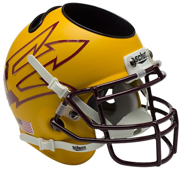Arizona State Sun Devils Miniature Football Helmet Desk Caddy <B>Matte Gold Large Pitchfork w/85</B>