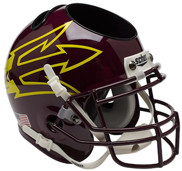 Arizona State Sun Devils Miniature Football Helmet Desk Caddy <B>Maroon Large Pitchfork w/85</B>