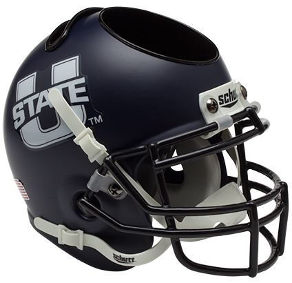 Utah State Aggies Miniature Football Helmet Desk Caddy <B>Matte Navy</B>