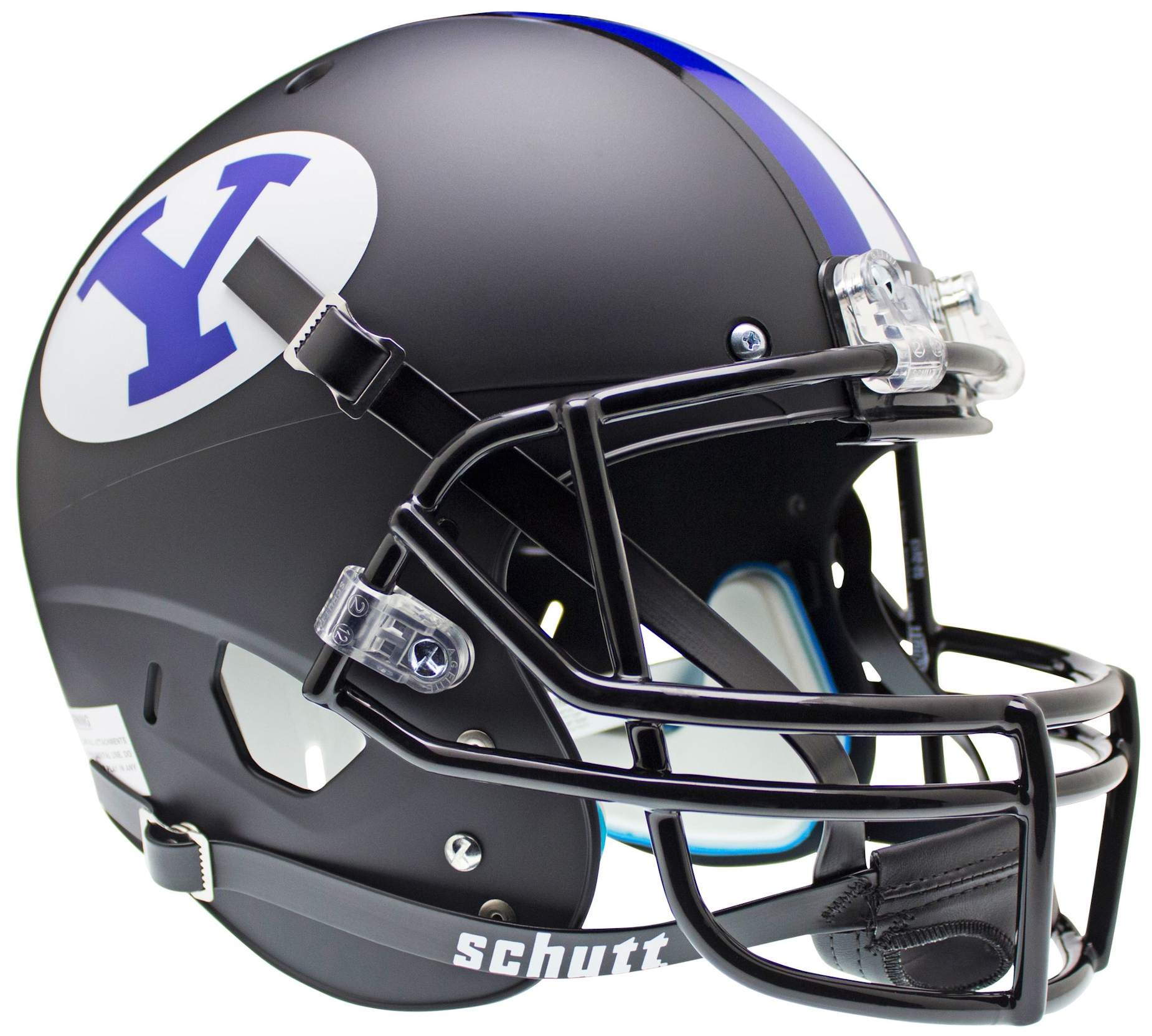 Brigham Young Cougars Full XP Replica Football Helmet Schutt <B>Black</B>