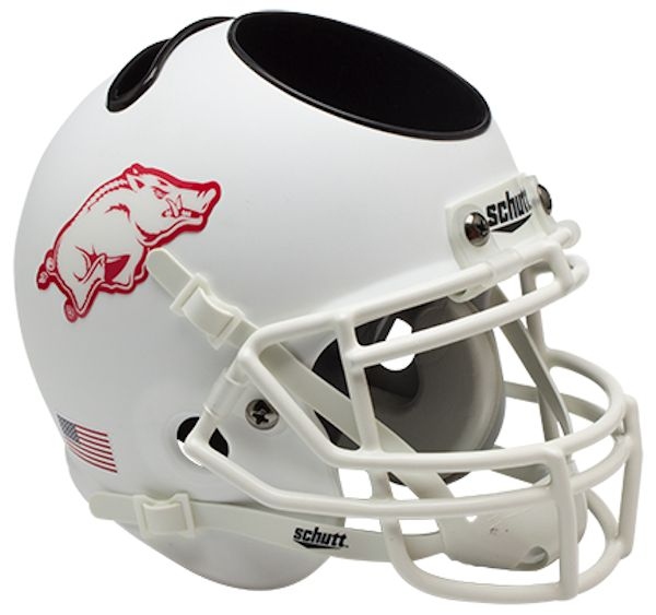 Arkansas Razorbacks Miniature Football Helmet Desk Caddy <B>Matte White</B>