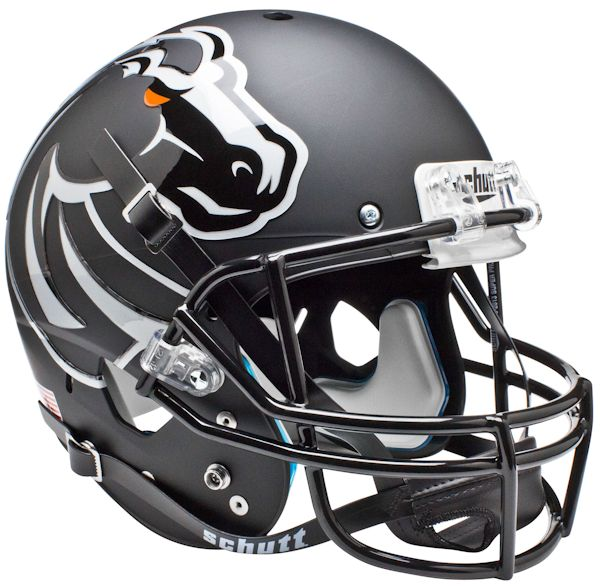 Boise State Broncos Full XP Replica Football Helmet Schutt <B>Matte Black</B>