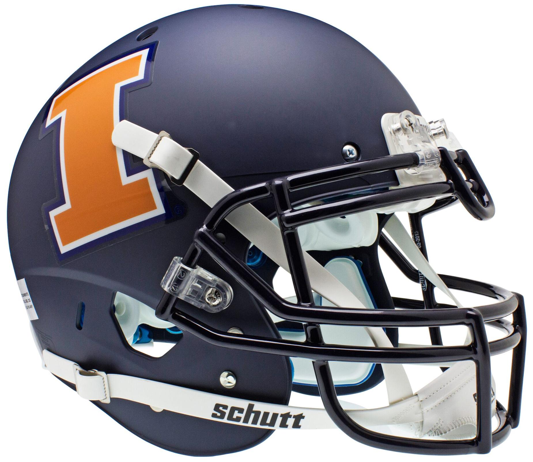 Illinois Fighting Illini Authentic College XP Football Helmet Schutt <B>Matte Navy</B>