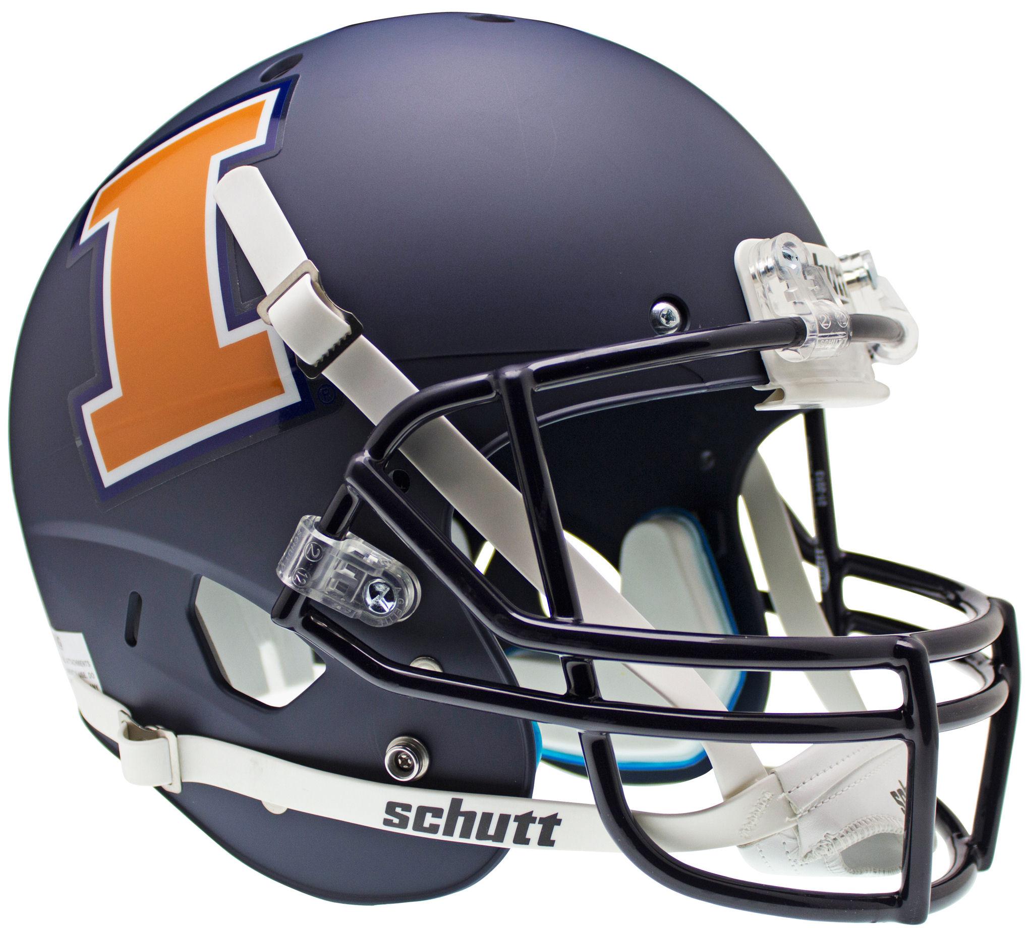 Illinois Fighting Illini Full XP Replica Football Helmet Schutt <B>Matte Navy</B>
