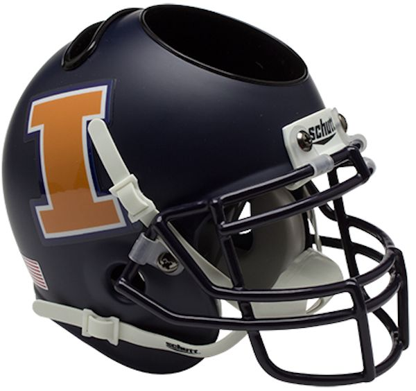 Illinois Fighting Illini Miniature Football Helmet Desk Caddy <B>Matte Navy</B>