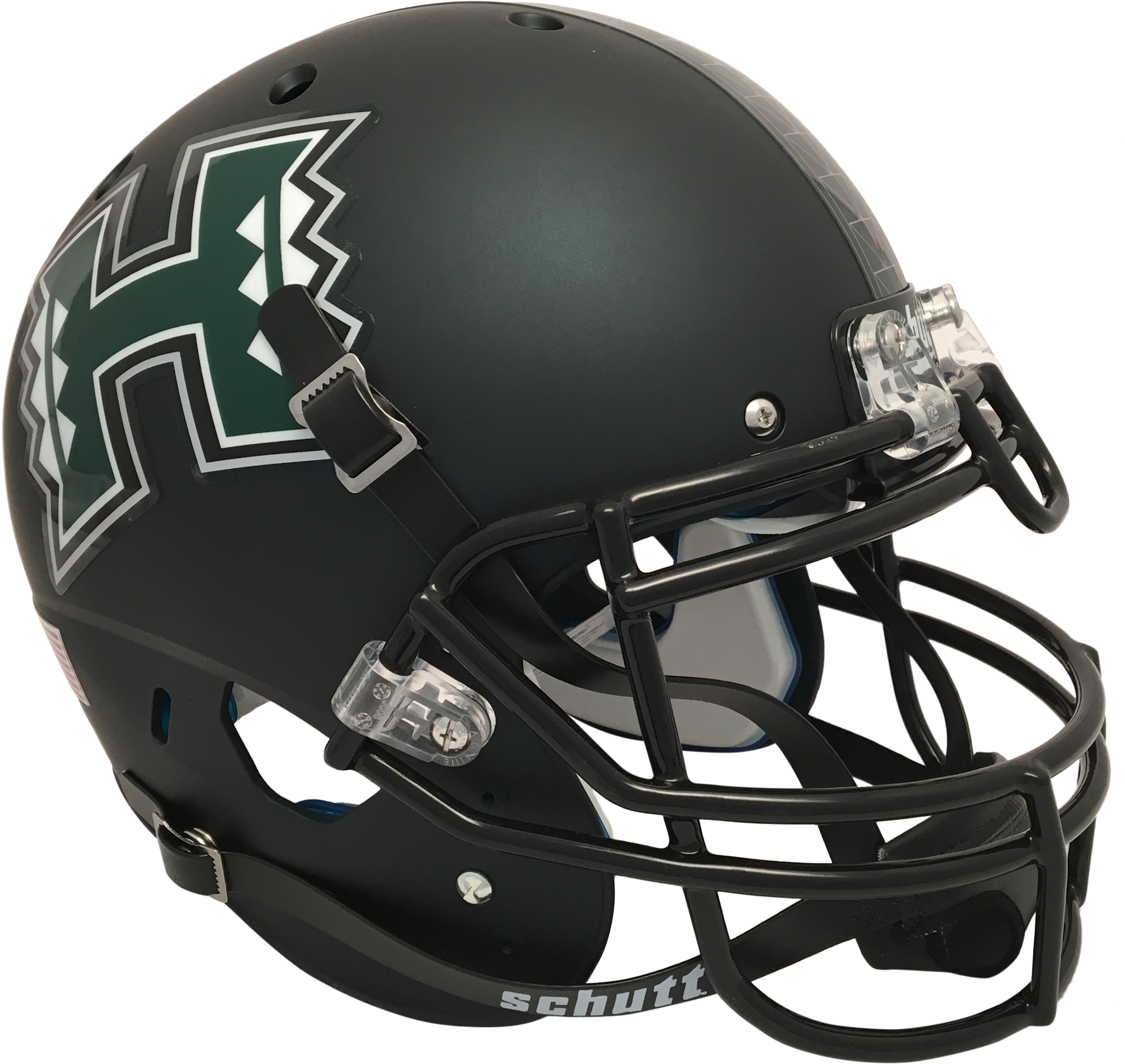 Hawaii Warriors Full XP Replica Football Helmet Schutt <B>Matte Dark Green</B>