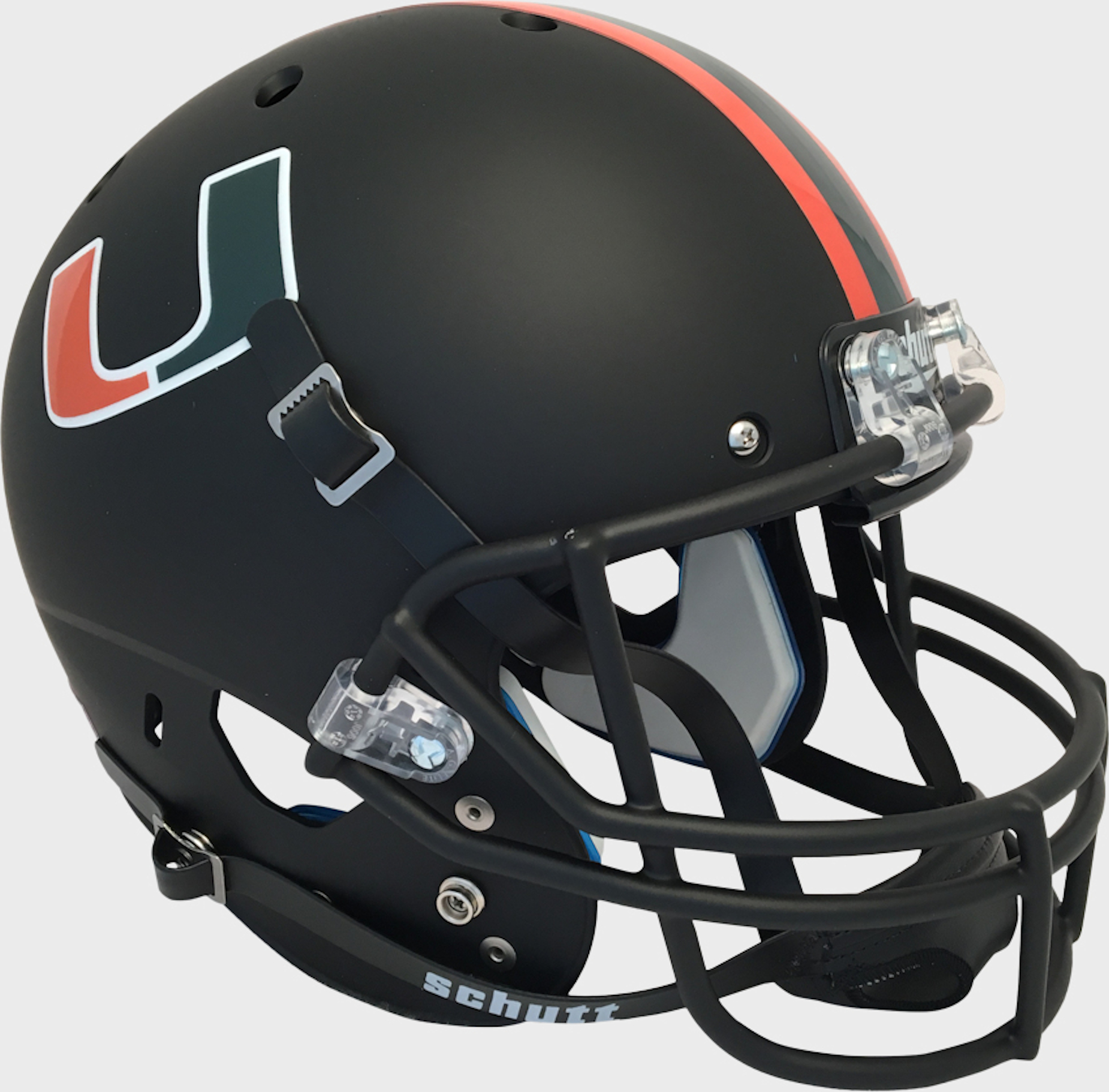 Miami Hurricanes Full XP Replica Football Helmet Schutt <B>Matte Black</B>