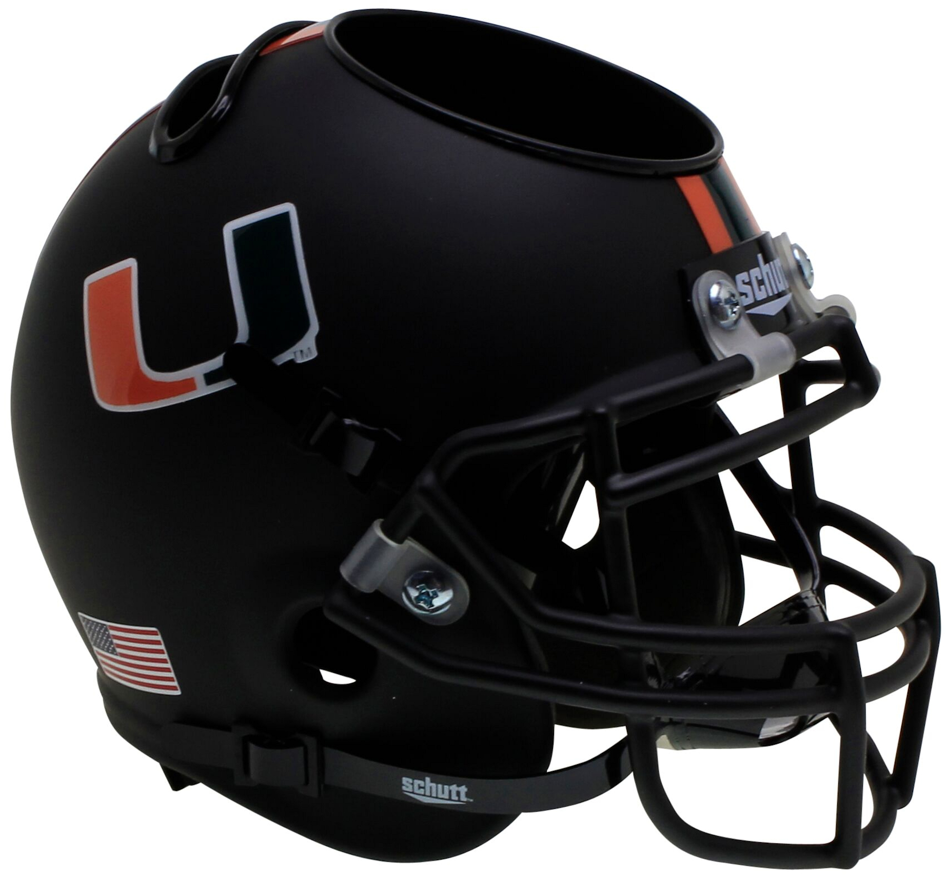 Miami Hurricanes Miniature Football Helmet Desk Caddy <B>Matte Black</B>