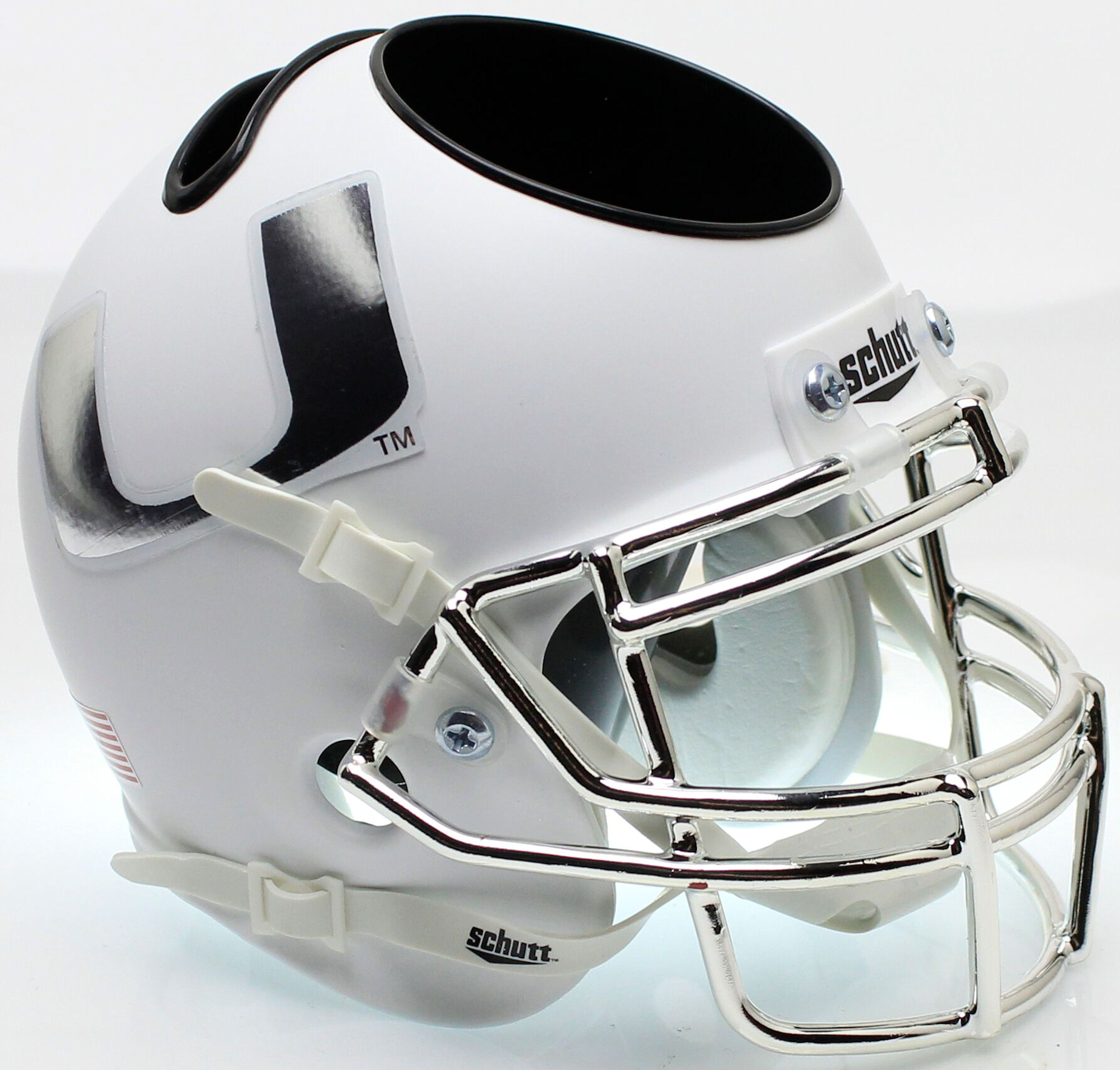 Miami Hurricanes Miniature Football Helmet Desk Caddy <B>Chrome Mask and Decal</B>