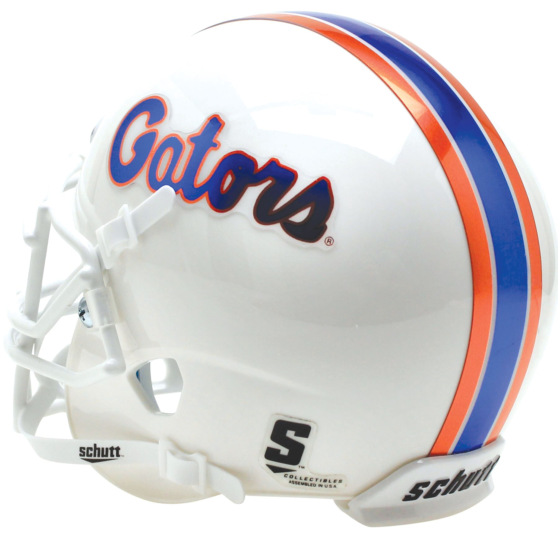 Florida Gators Full XP Replica Football Helmet Schutt <B>White Chrome Decal</B>