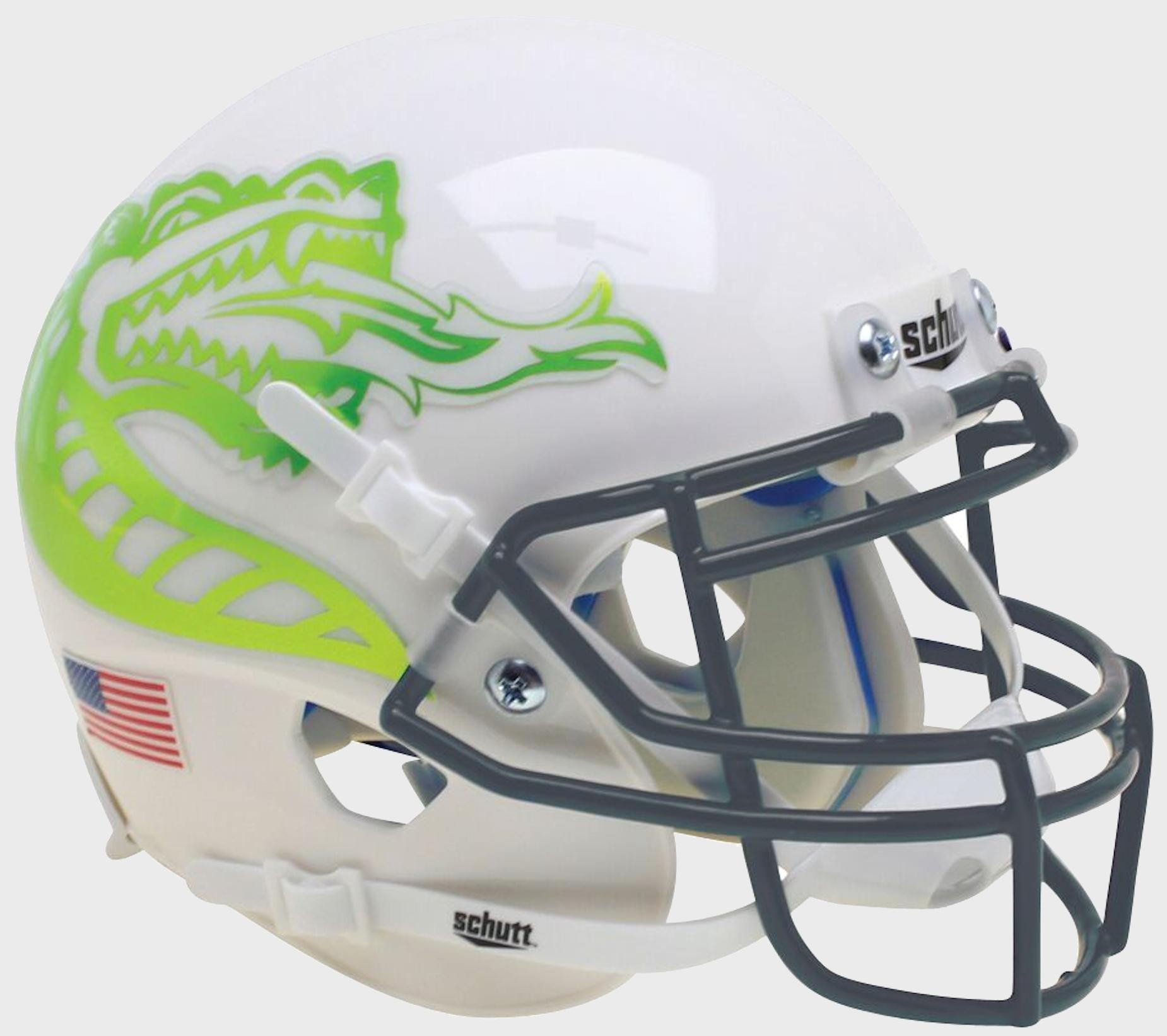 UAB Blazers Mini XP Authentic Helmet Schutt <B>White With Chrome Dragon</B>