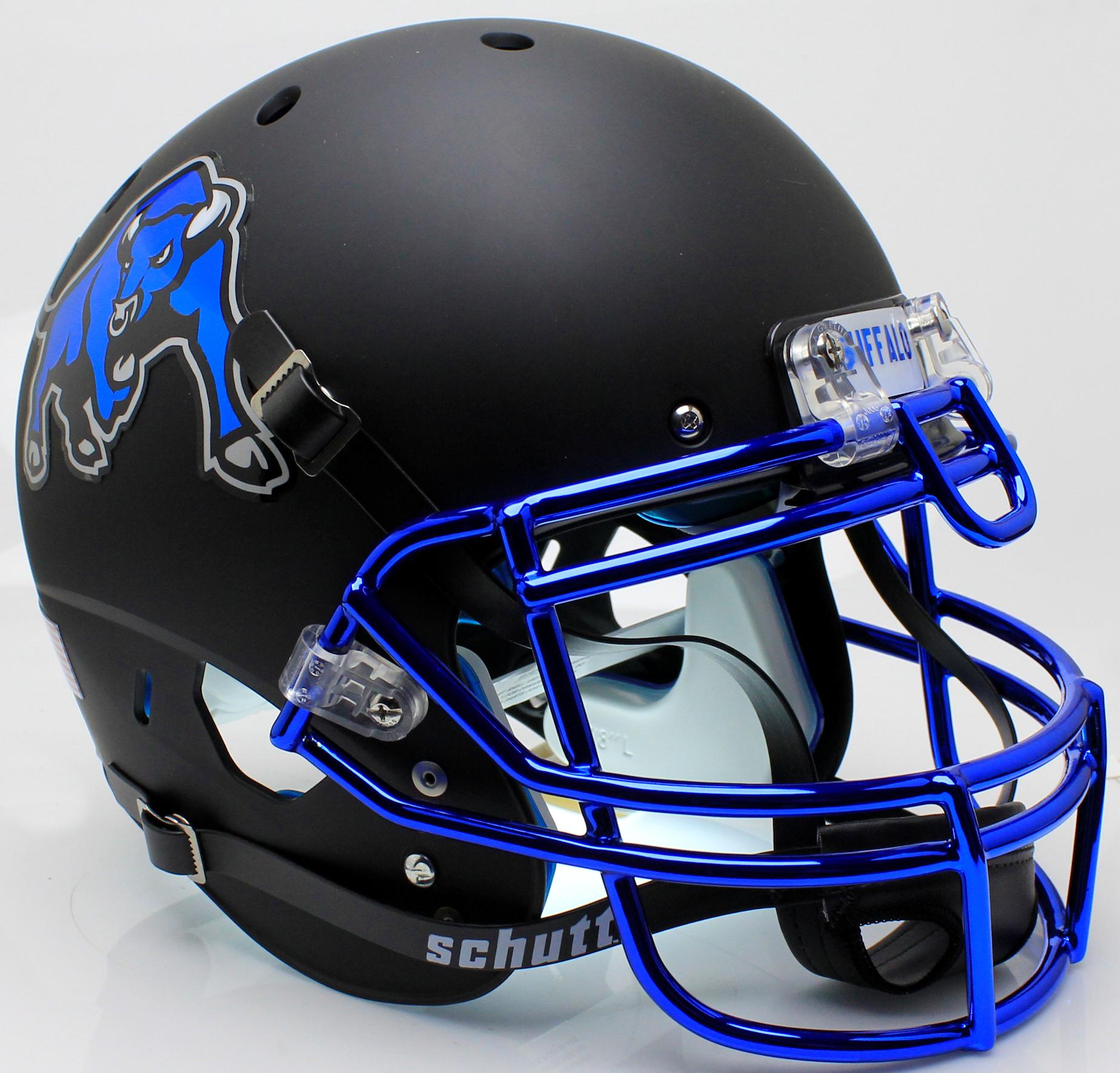 Buffalo Bulls Authentic College XP Football Helmet Schutt <B>Matte Black Chrome Mask</B>