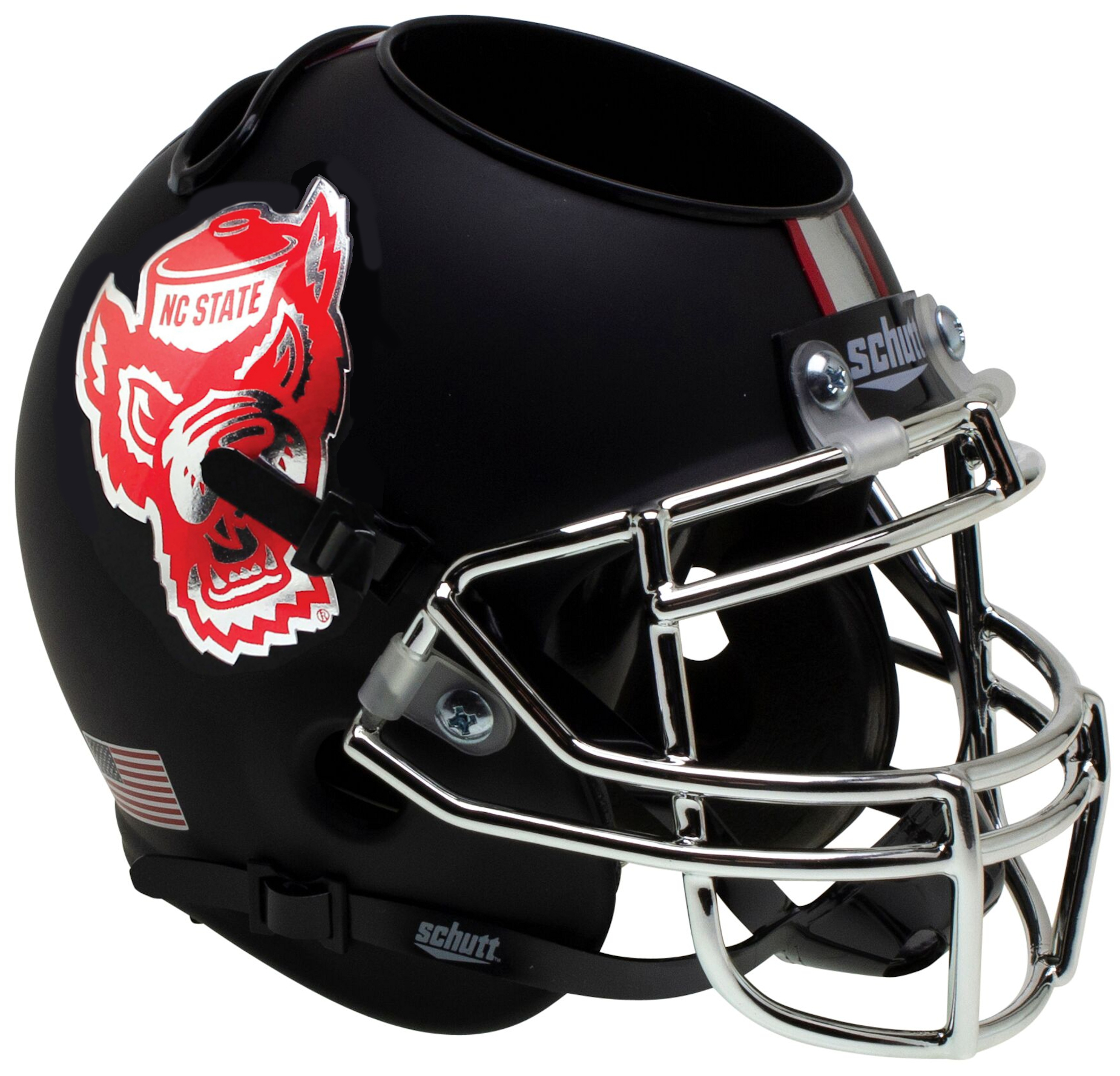 North Carolina State Wolfpack Miniature Football Helmet Desk Caddy <B>Matte Black</B>