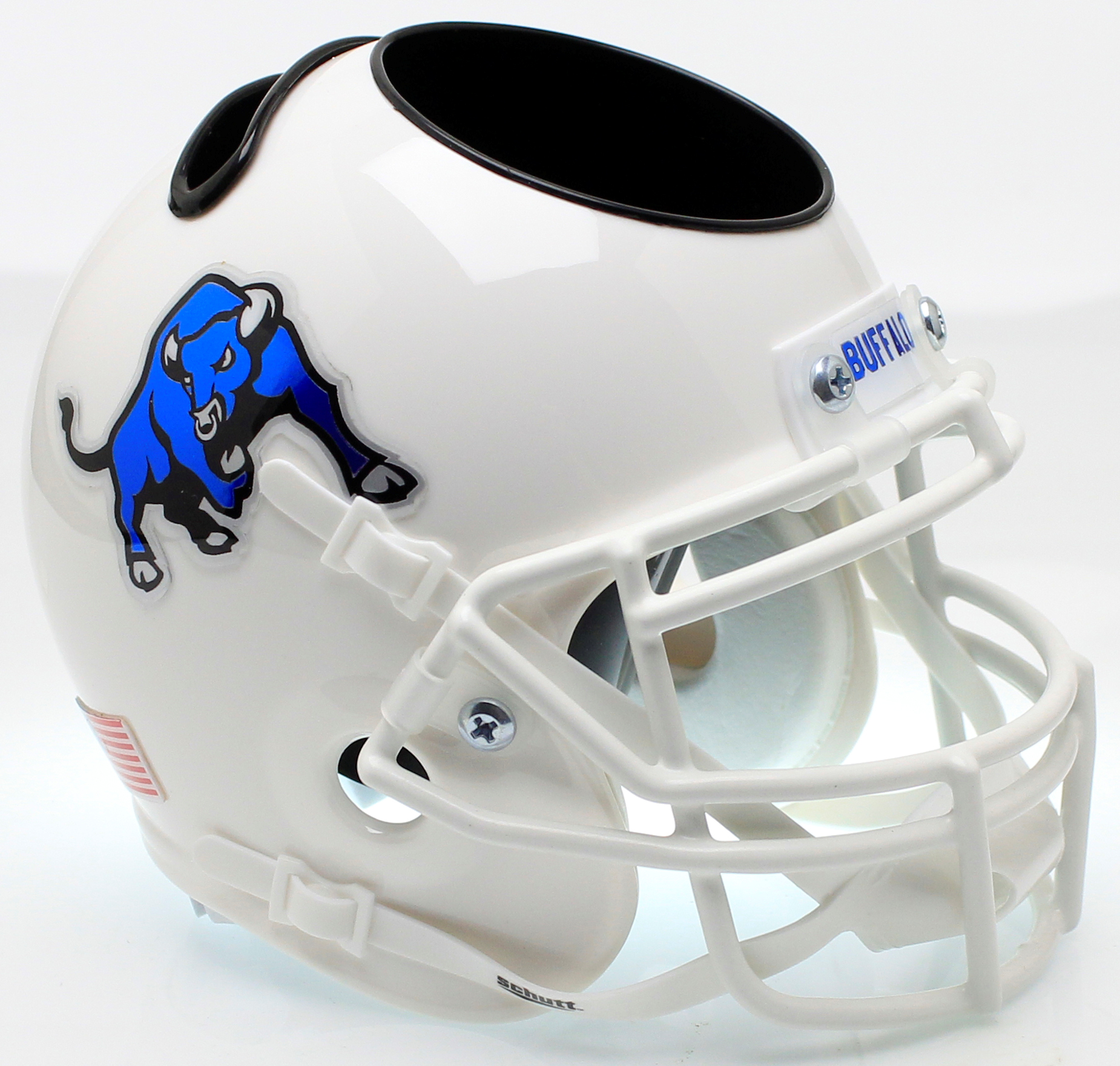 Buffalo Bulls Mini Football Helmet Desk Caddy <B>White Bull</B>